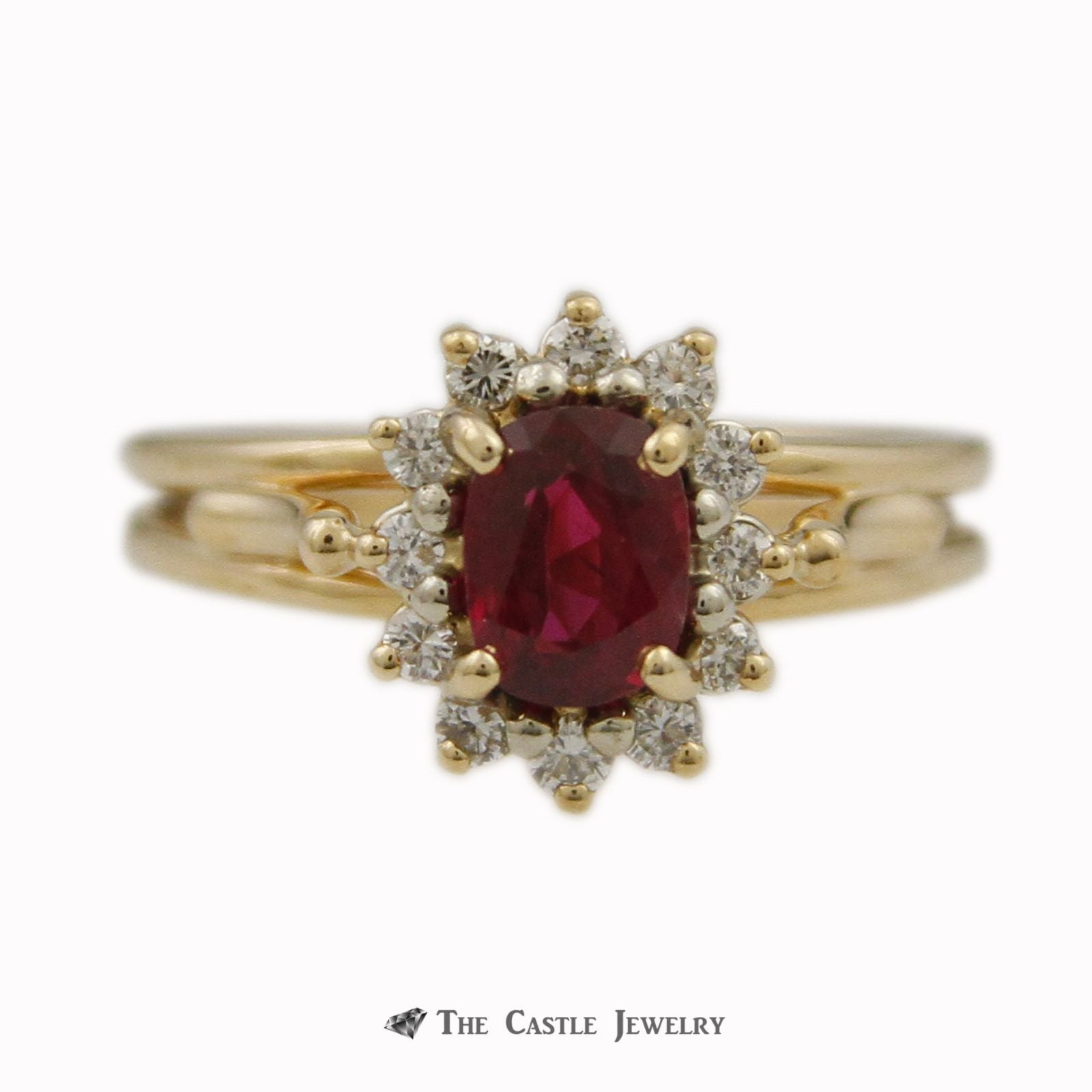 Oval Cut Ruby Ring with .25cttw Round Brilliant Cut Diamond Bezel & Cathedral Mounting