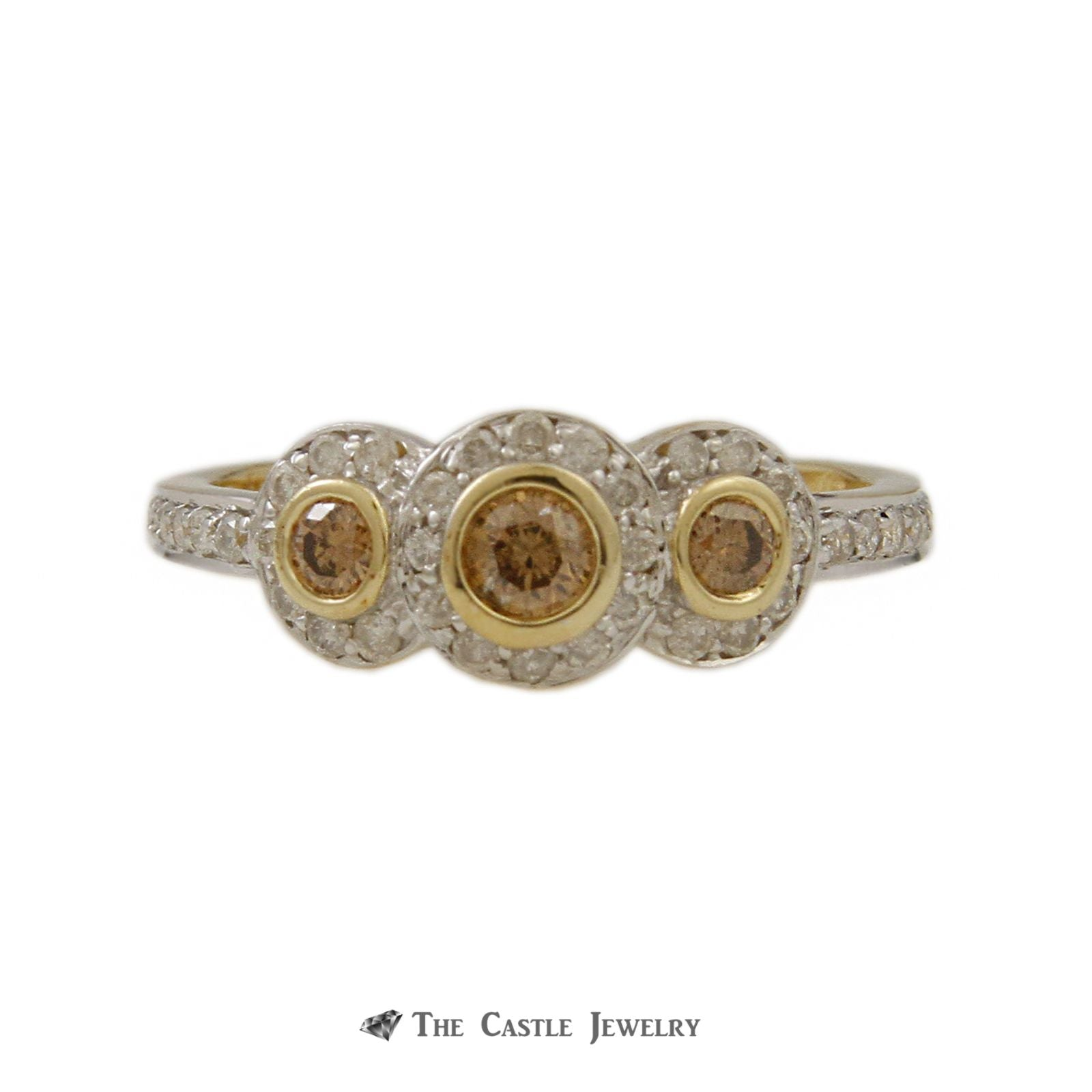 Bezel Set Champagne Diamond 3 Stone Ring with White Diamond Halos & Mounting in Yellow Gold