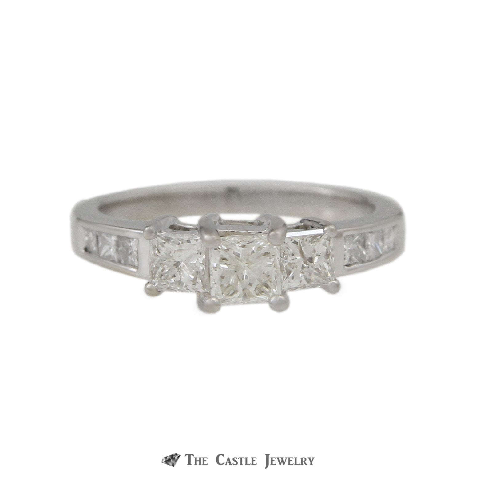 DeBeers Style Ring with 1cttw Princess Cut Channel Set Diamonds-0