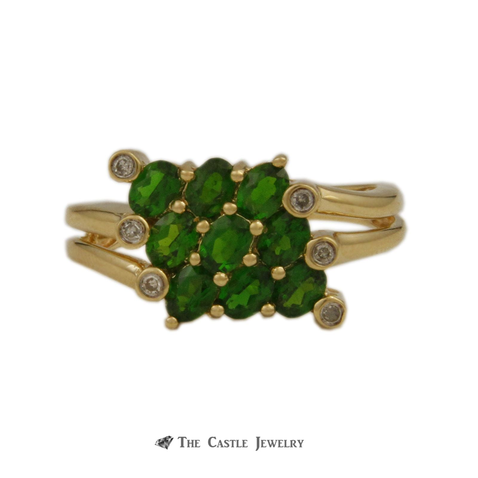 Oval Tsavorite Garnet Cluster Ring with Bezel Set Round Accent Diamond Side