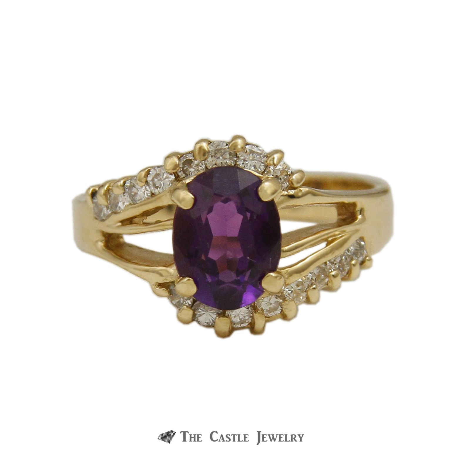 Oval Cut Amethyst Ring with .33cttw Round Diamonds in Open Swirl Design Mounting
