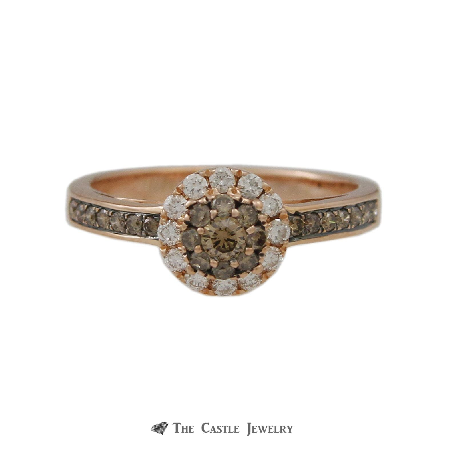 Le Vian Round Chocolate Diamond Ring w/ Round Brilliant Cut White Diamond Halo in 14k Rose Gold-0
