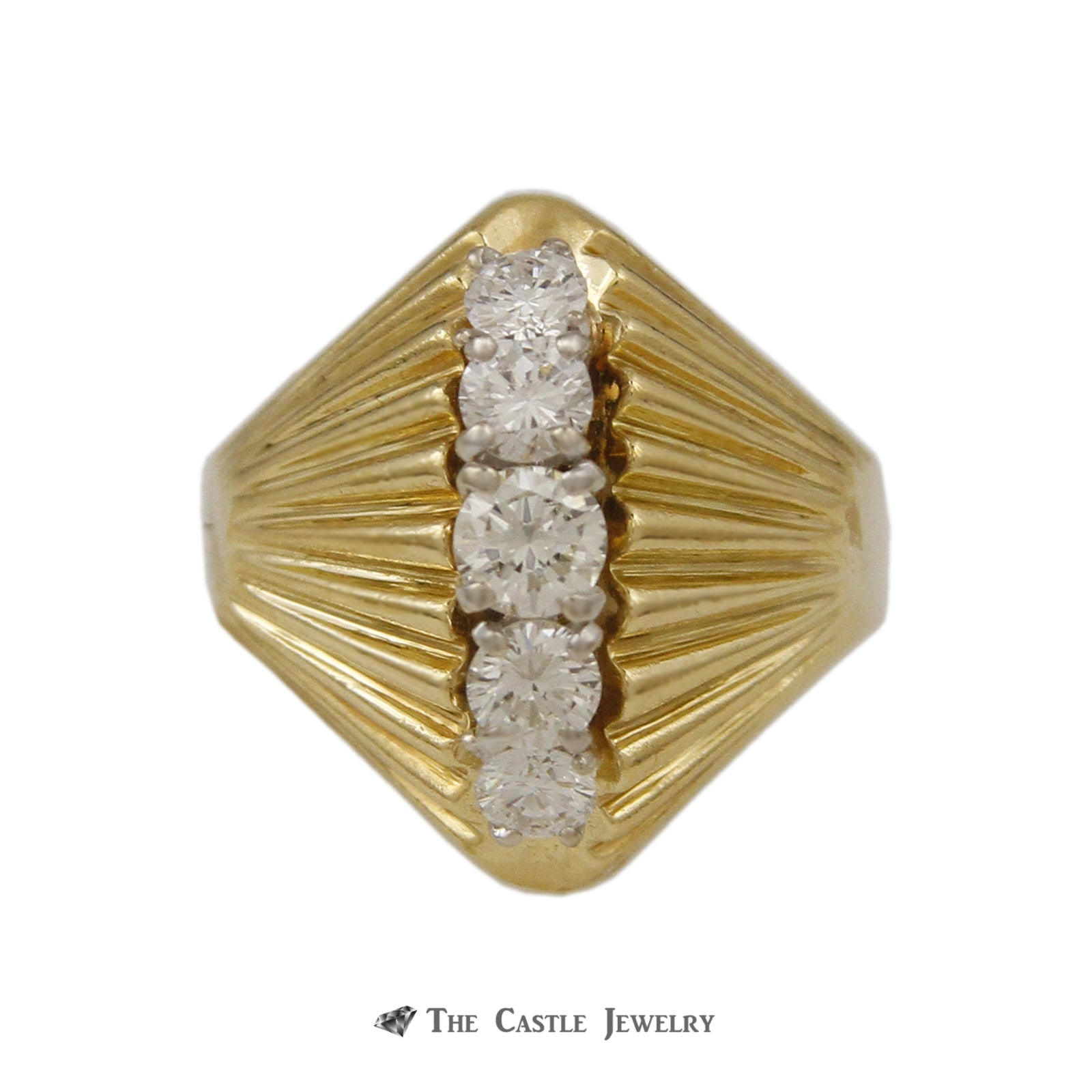 Domed Marquise Shaped .65cttw 5 Round Diamond Ring 18k Yellow Gold