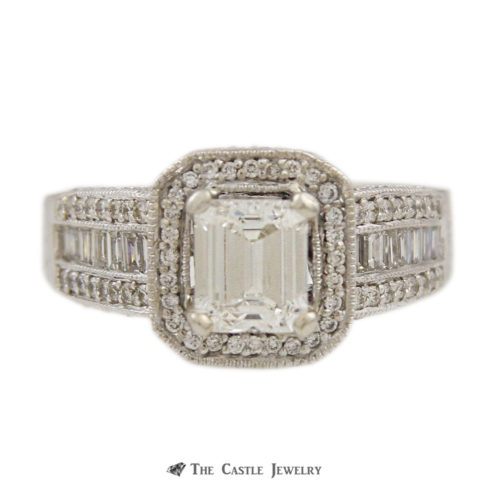 Emerald Cut Engagement Ring in Baguette & Round Diamond Semi Mount-0