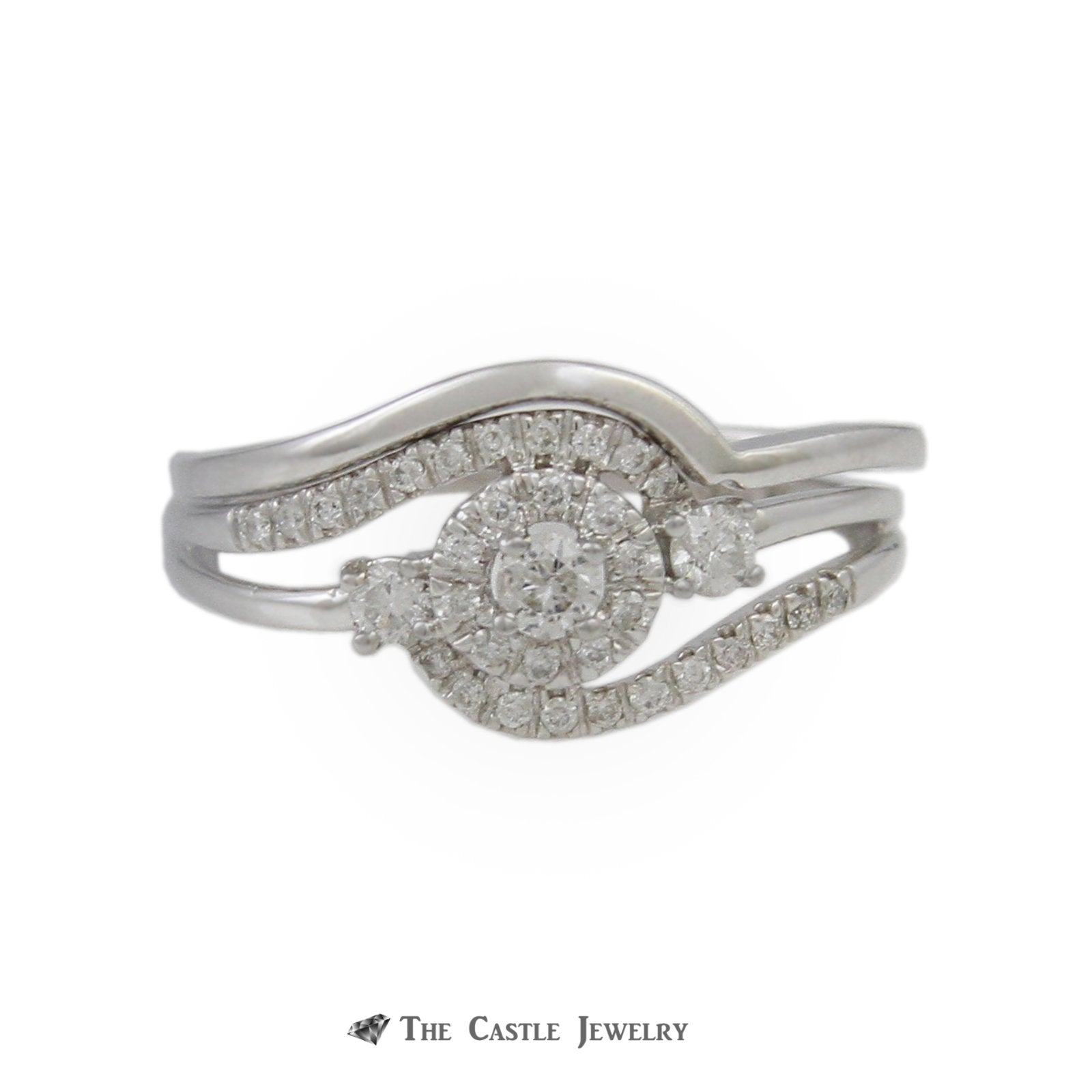 Crown Collection .30cttw Diamond Swirl Engagement Ring w/ Wedding Band in 10K