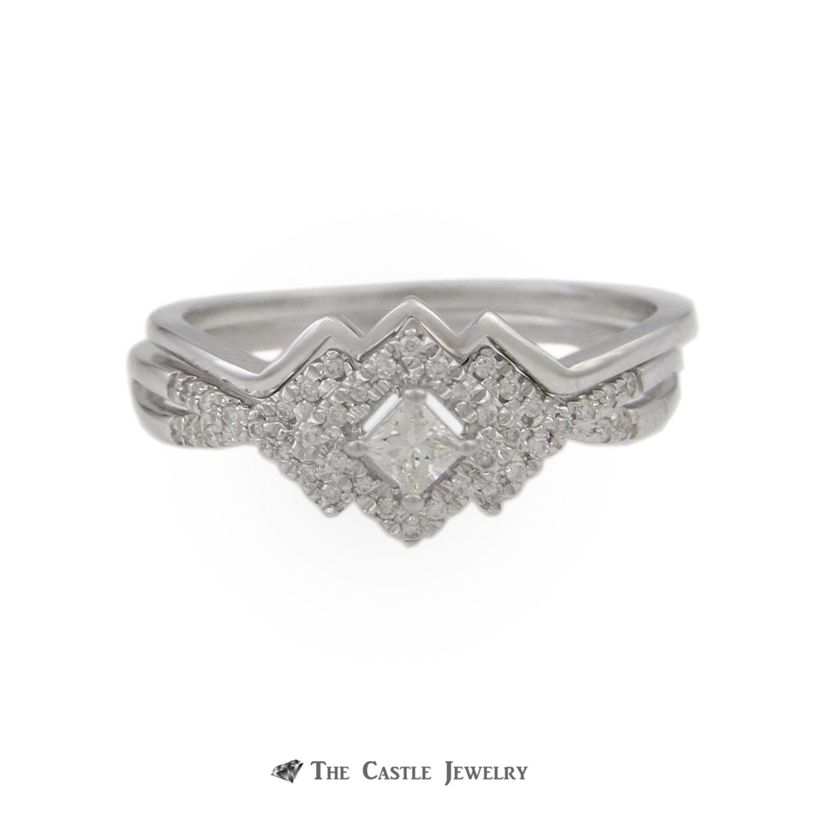 Crown Collection .25cttw Princess Cut Engagement Ring Diamond Halo & Fitted Wedding Band 10K