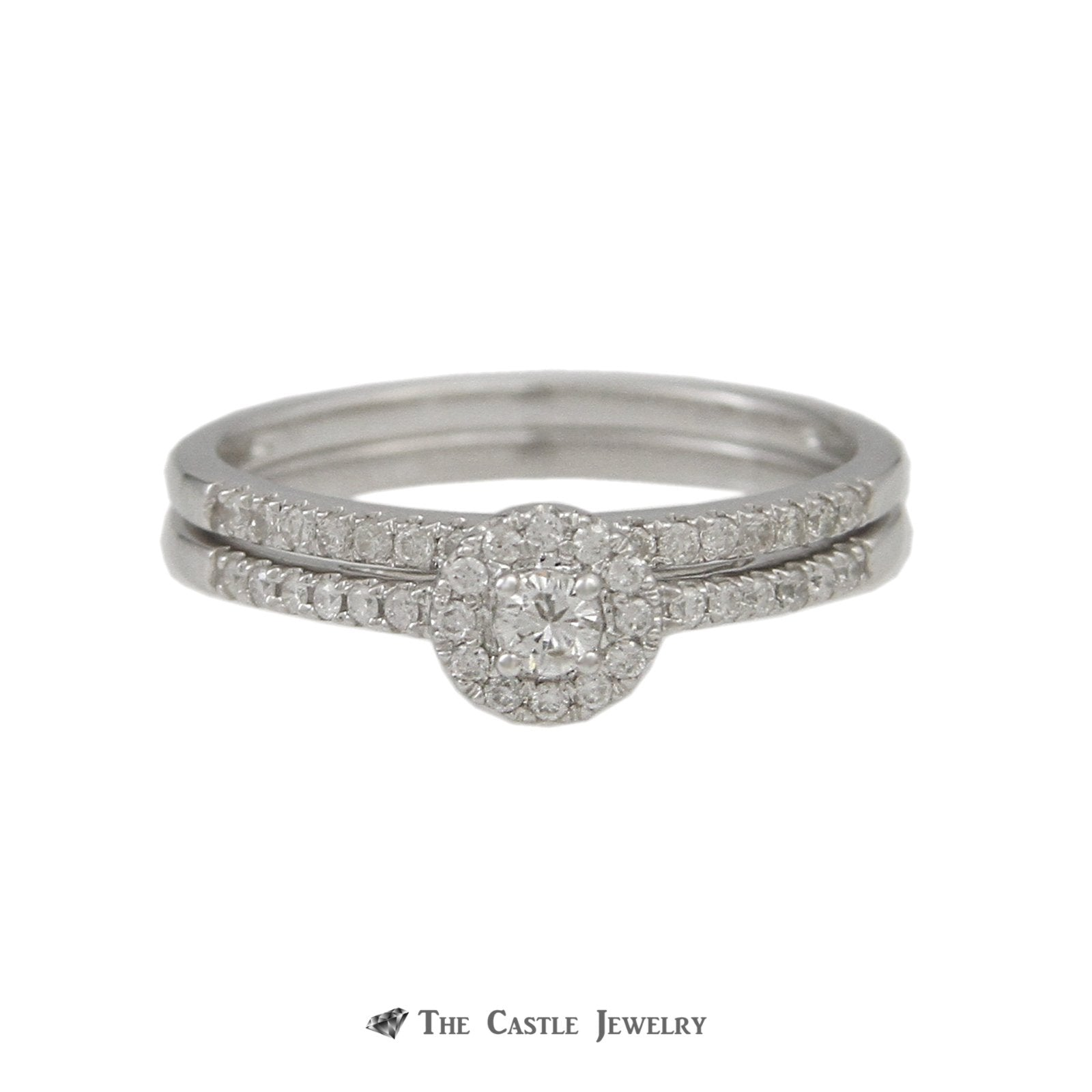 Crown Collection .30cttw Engagement Ring Round Diamond Center Halo & Diamond Wedding Band