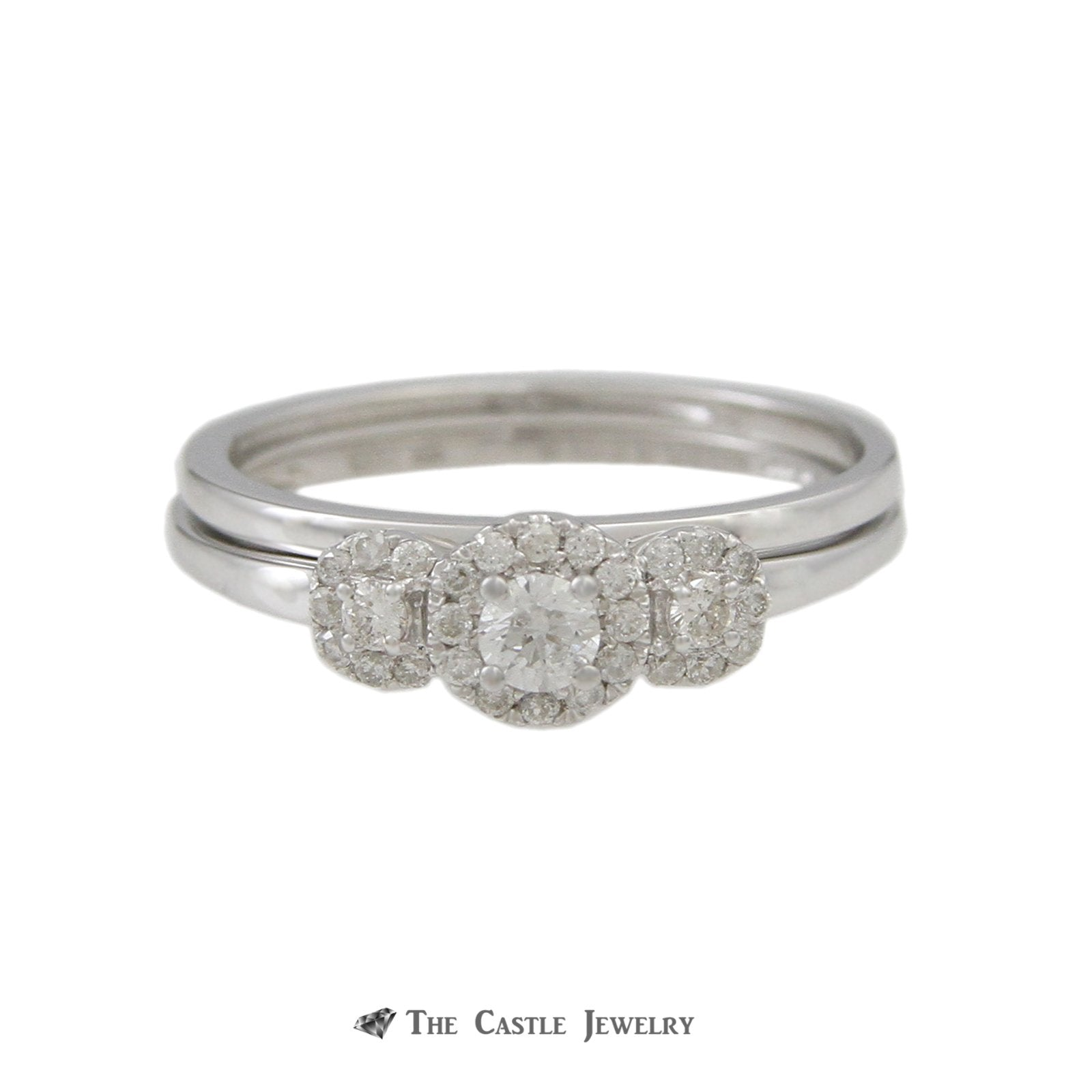 Crown Collection DeBeers Style 3 Diamond Engagement Ring Halos & Matching Band