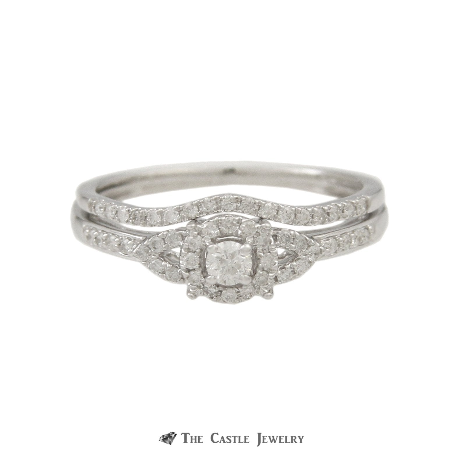 Crown Collection 1/3cttw Engagement Ring Set Round Diamond Halo and Matching Band 10K