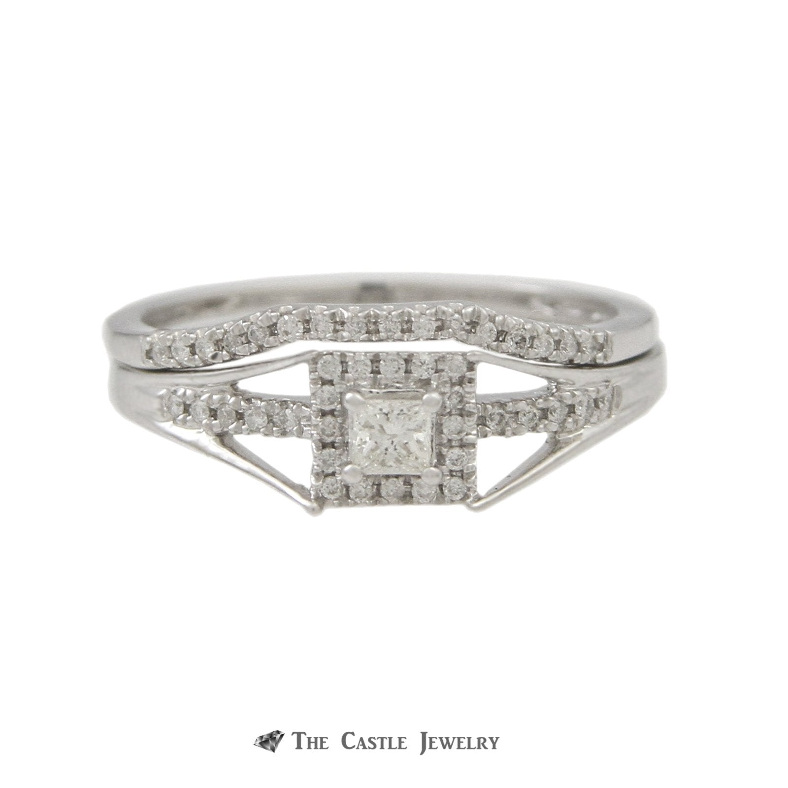 Crown Collection 1/4cttw Princess Cut Diamond Bridal Engagement Ring Set in 10K