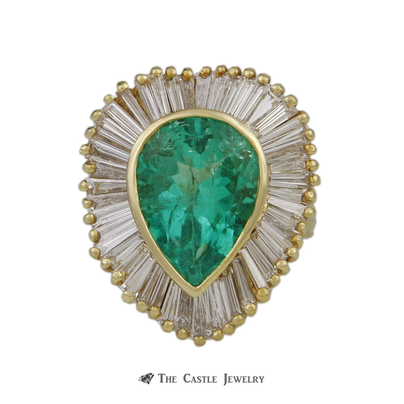 Pear Shaped 6.50ct Emerald Ring with Wavy 5.50cttw Baguette Halo