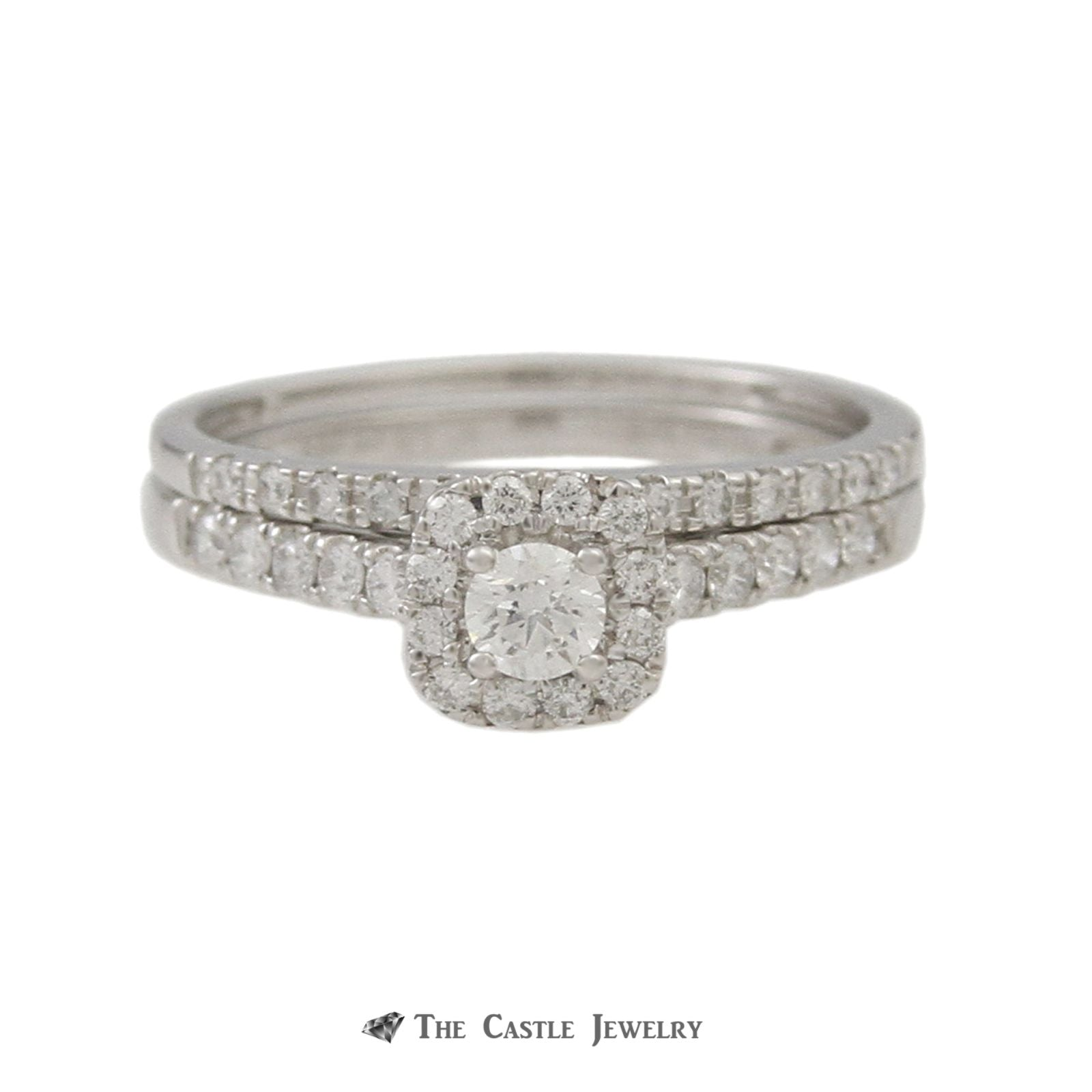 SPECIAL! Crown Collection .50cttw Bridal Set w/ Round Diamond Center & Cushion Shaped Bezel in 14k