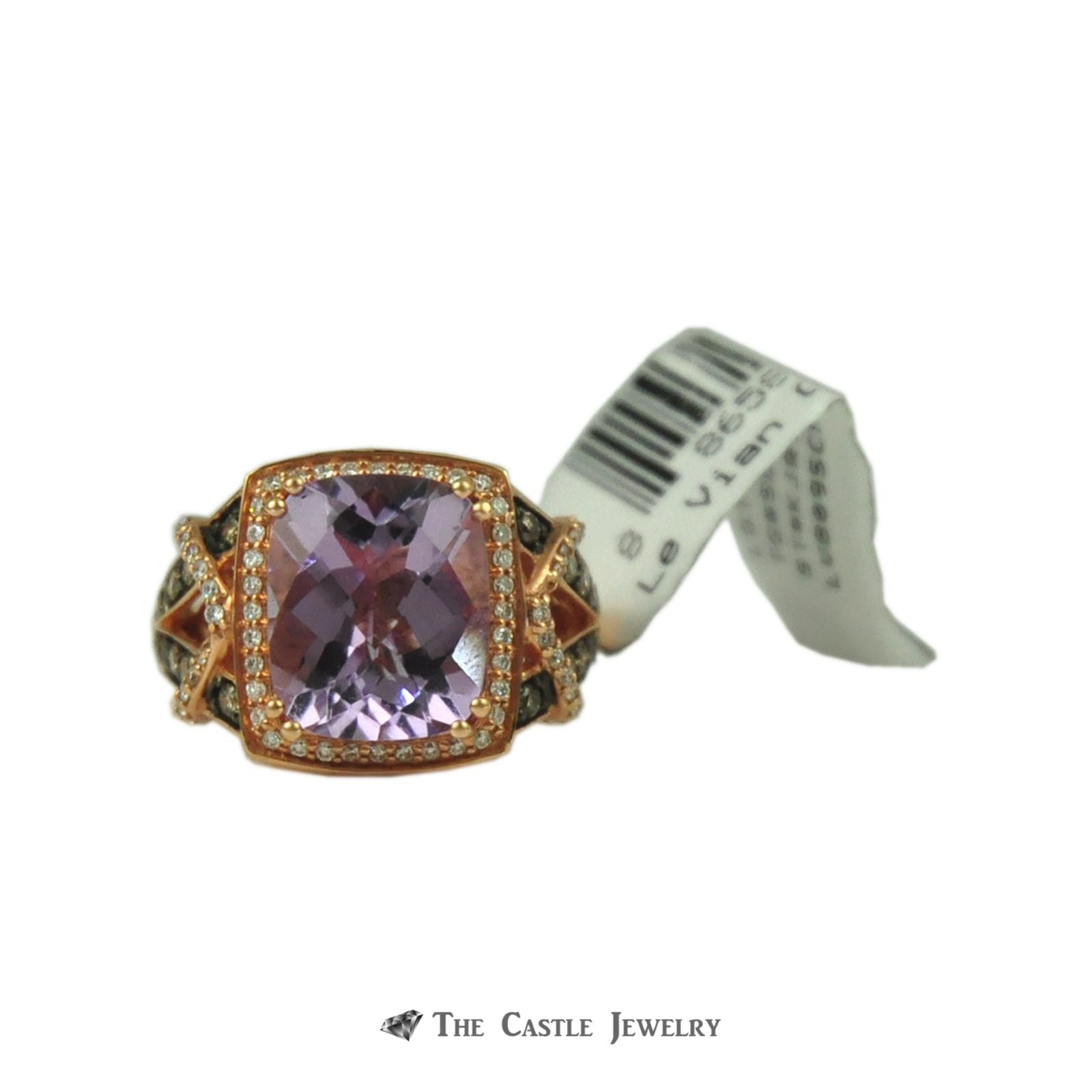 Designer Le Vian 4.40ct Cushion Cut Amethyst with White & Chocolate Diamond Accents