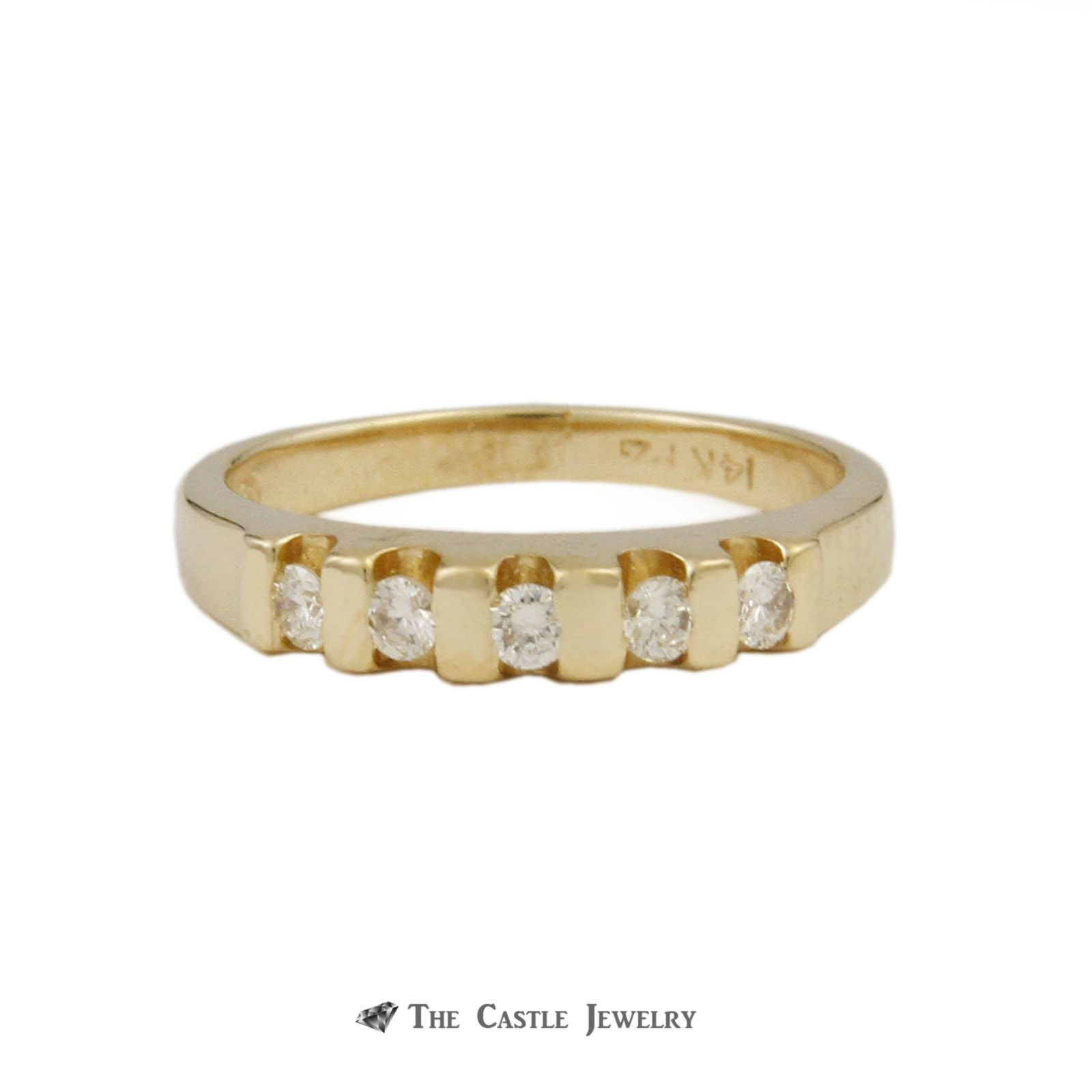 5 Round Brilliant Cut Diamond Wedding Band Crafted in 14K Yellow Gold