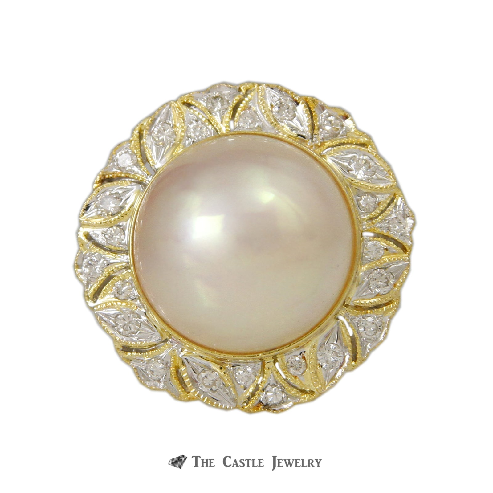 Mabe Pearl Ring with 1/4cttw Round Brilliant Cut Diamond Bezel in 18K Yellow Gold