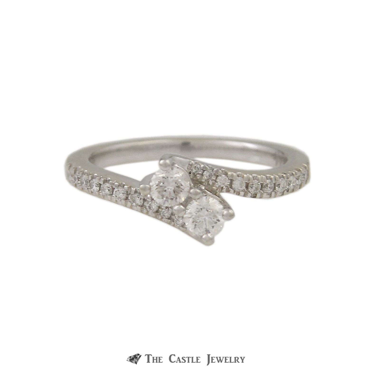 Ever Us .50cttw Diamond Two Stone Ring with Round Brilliant Cut Diamond Sides