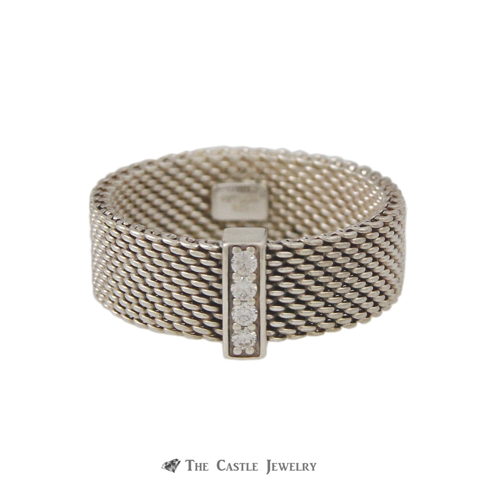Tiffany & Co. Mesh Style Ring Vertical Row of Round Diamonds in Sterling Silver