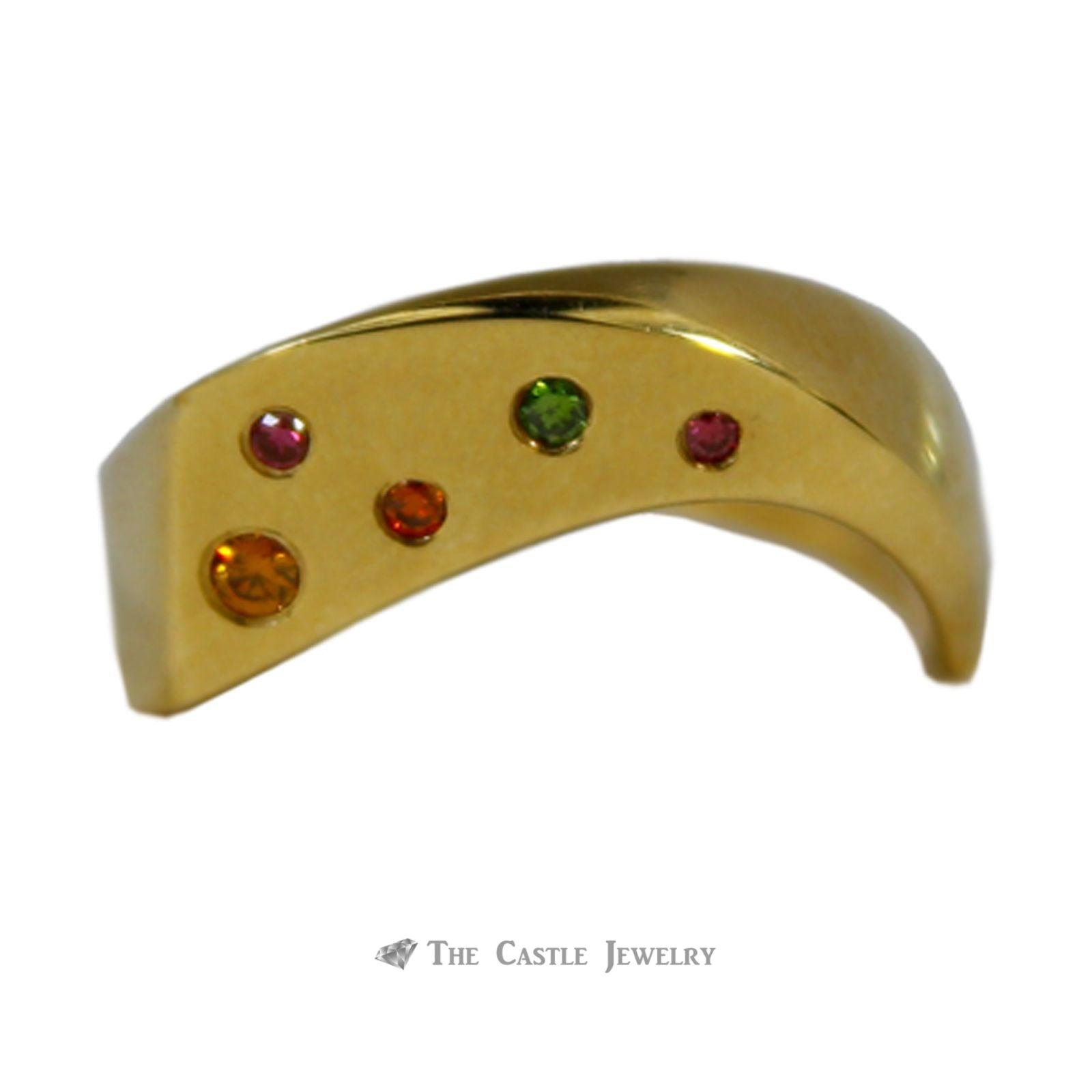 Multicolored Diamond Wave Ring in 14K Yellow Gold