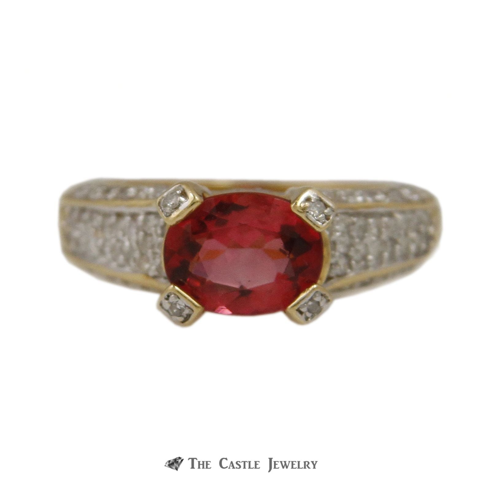 Side Set Oval Pink Tourmaline with Round Pave Diamond Sides & Prongs in 14K Yellow Gold