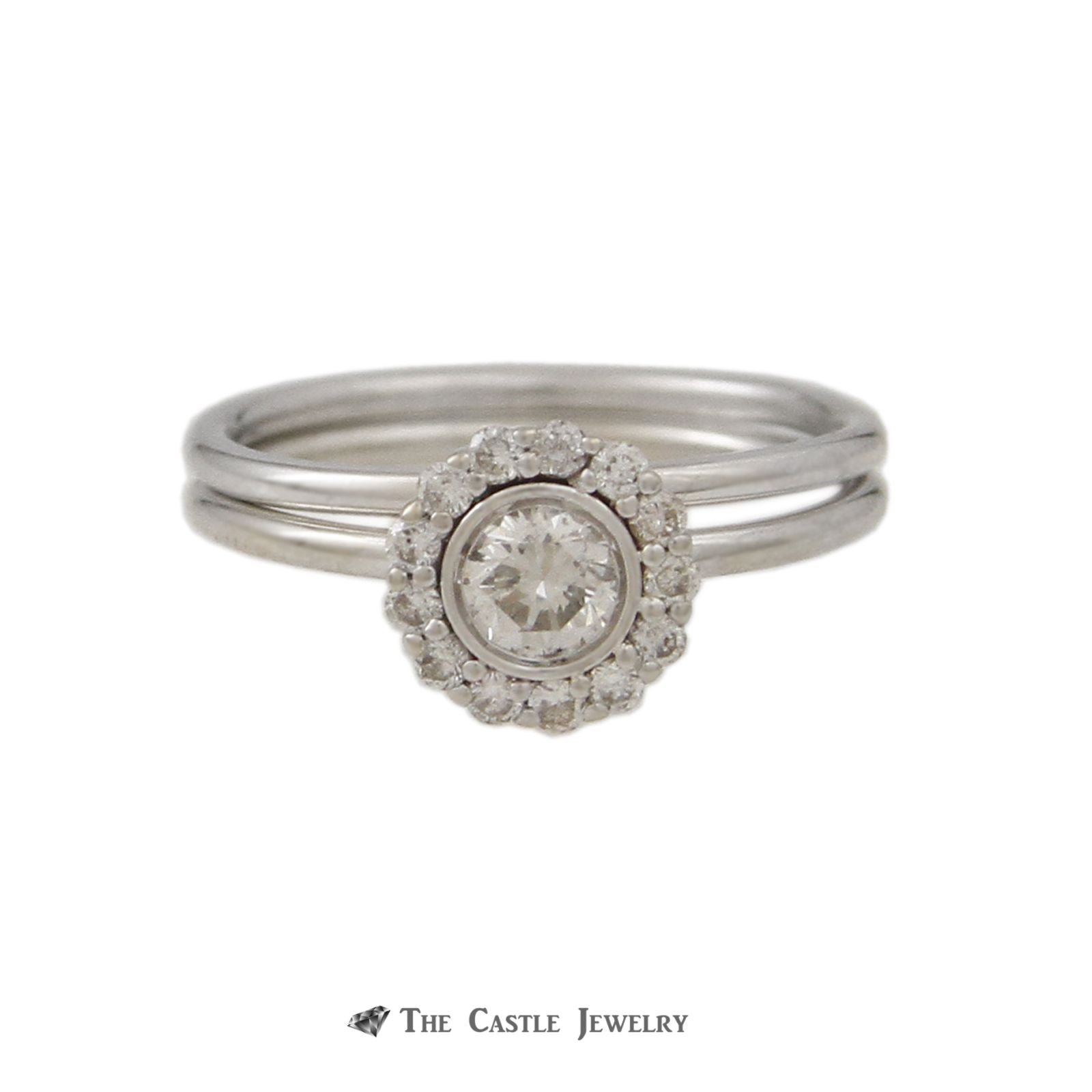Bridal Set Round Bezel Set Diamond Center Round Diamond Halo 14K White Gold