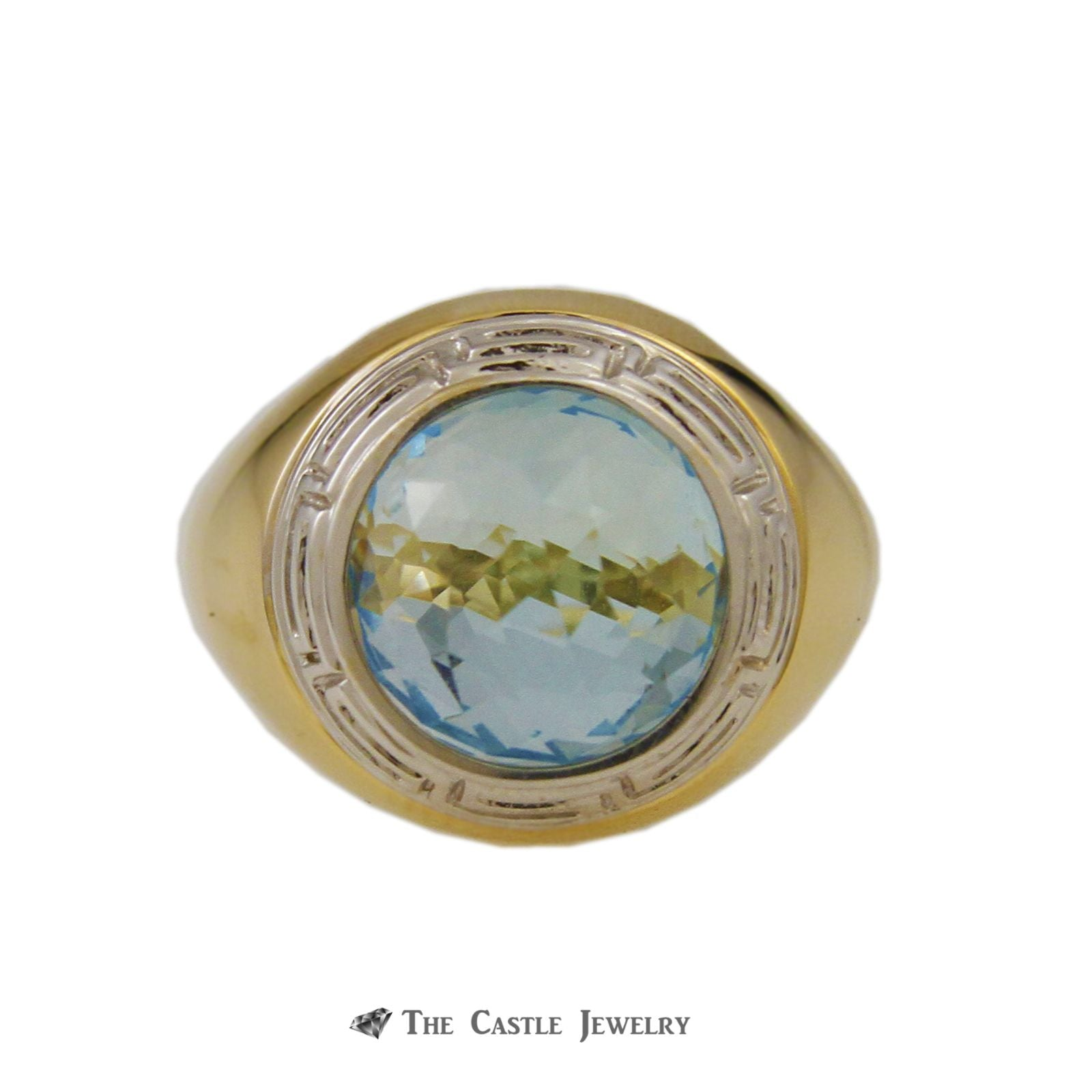 Interchangeable Fantasy Cut Gemstone Sphere Ring w/ Greek Key Design Crafted in 18k Yellow Gold-2