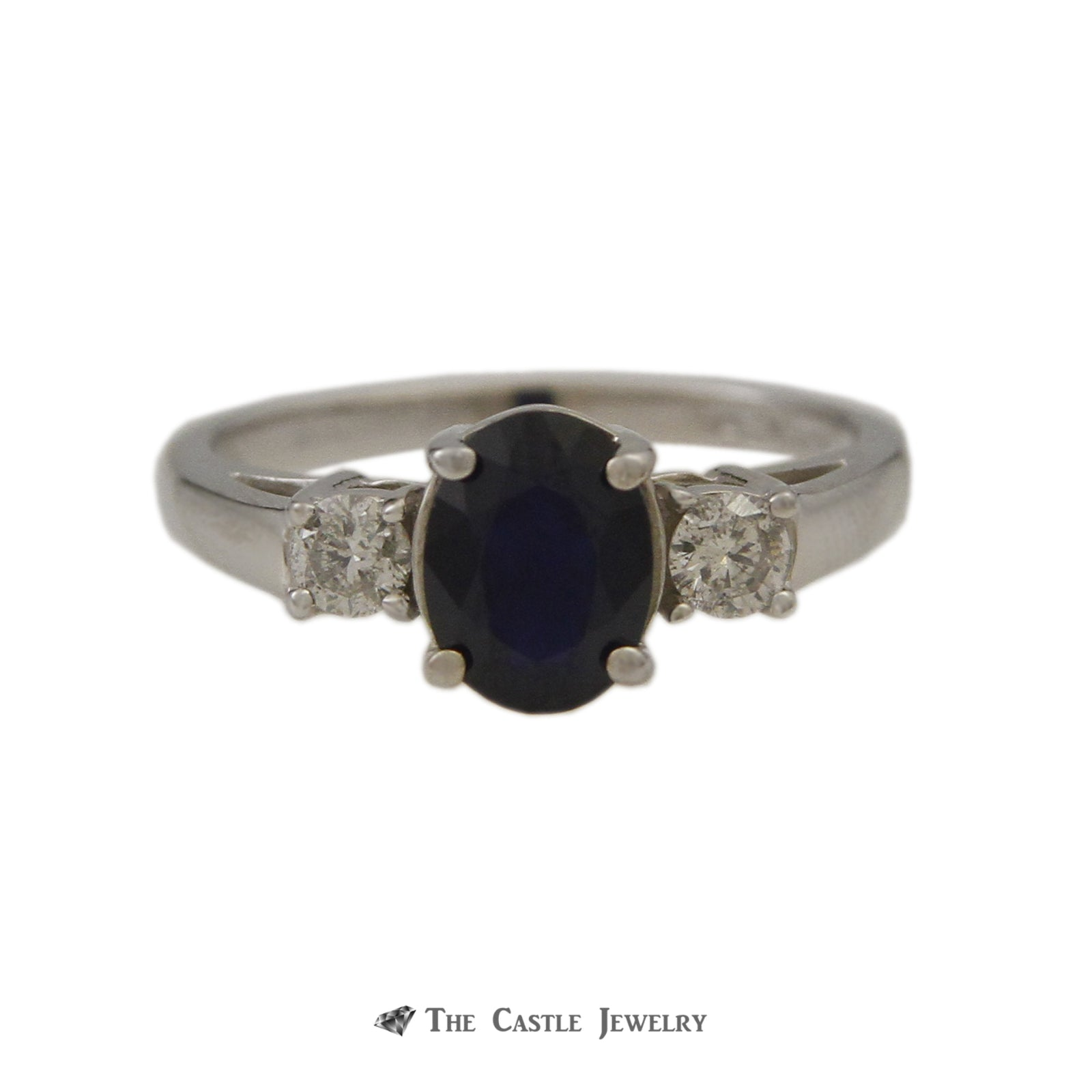 Oval Sapphire Gemstone Ring w/ Round Diamond Sides & Cathedral Mount in 14k