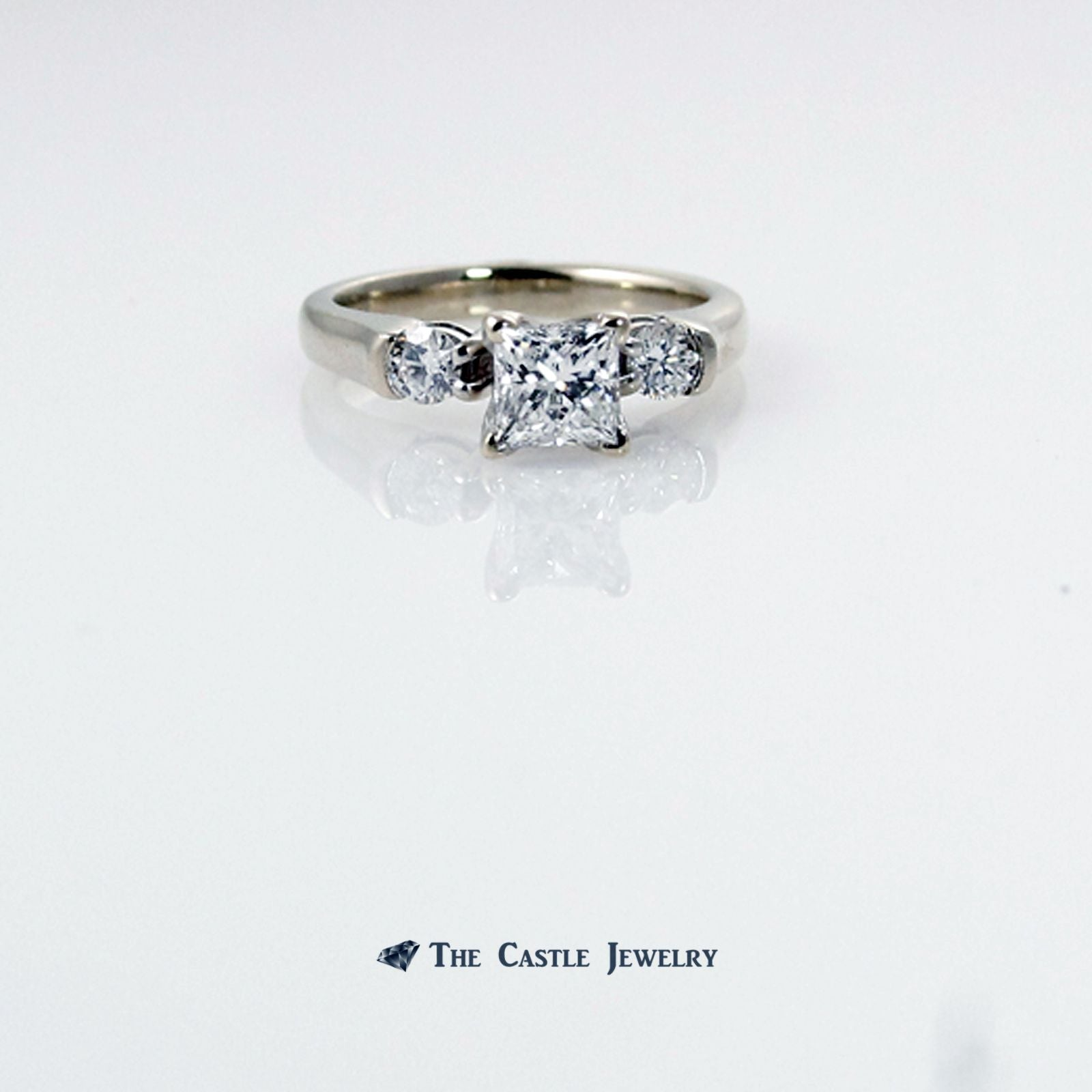 Princess Cut Diamond Engagement Ring with Round Accents in 14K White Gold