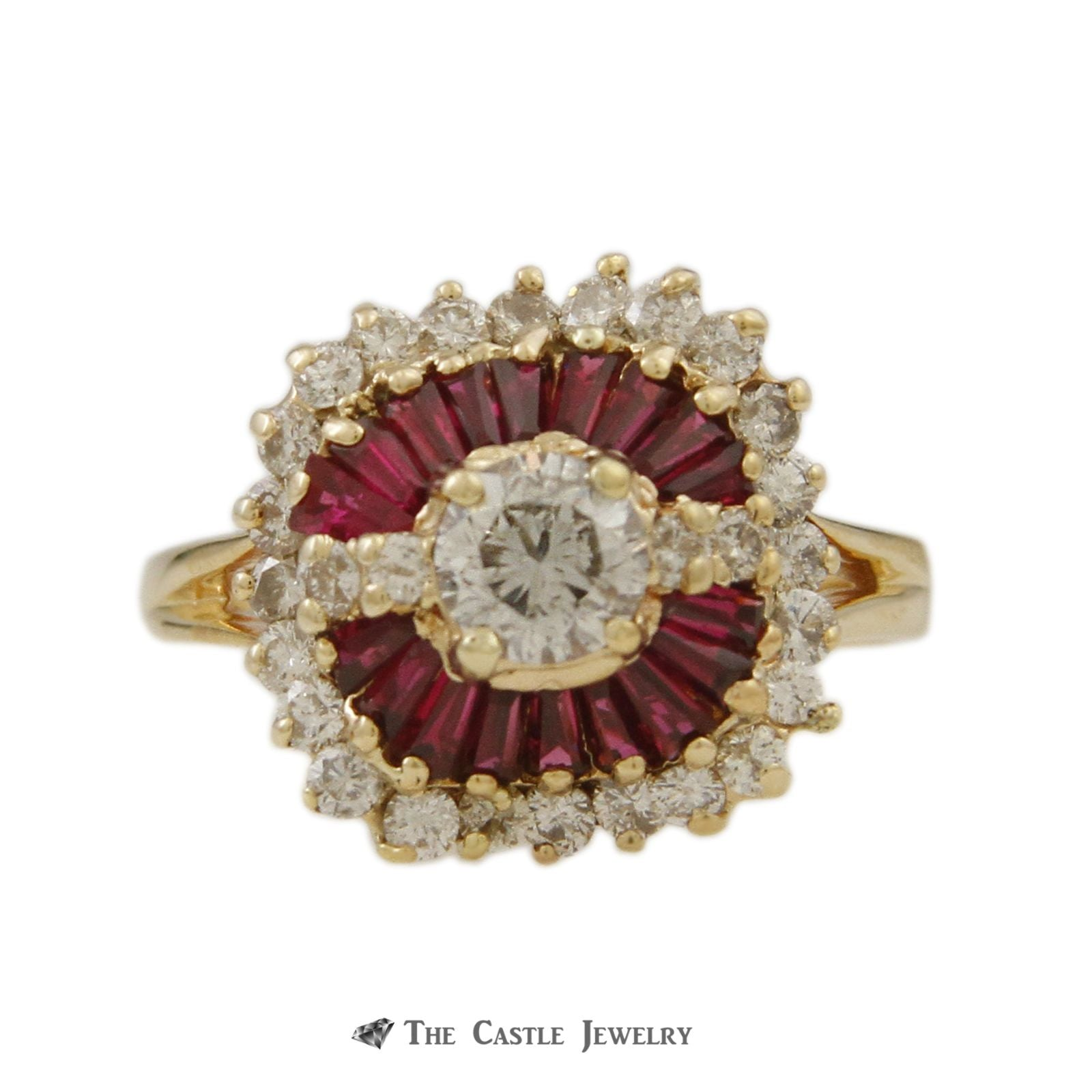 Ruby & Diamond Ballerina Ring with .50ct Round Center & Baguette Ruby Halo in 14K Yellow Gold