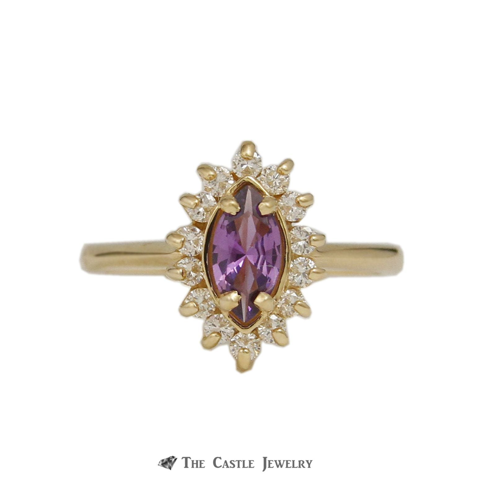 Marquise Cut Amethyst Ring with .25cttw Diamond Bezel in 14K Yellow Gold