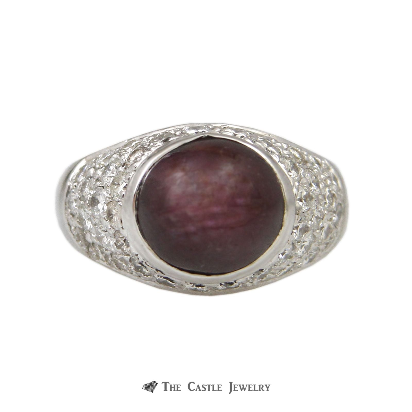 Vintage Cabochon Ruby Ring in 1.50cttw Pave Round Diamond Mounting 14K