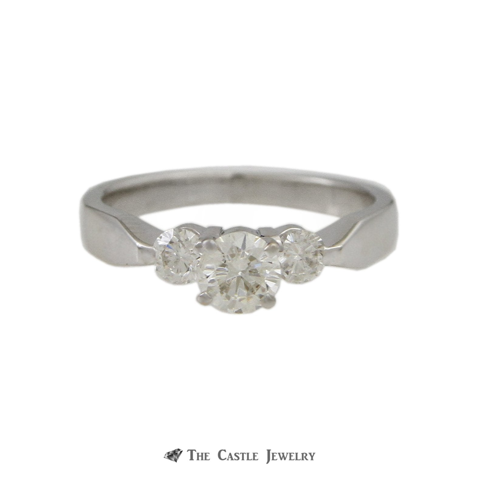 Round Brilliant Cut .35ct Diamond Engagement Ring w/ Round Diamond on Each Side