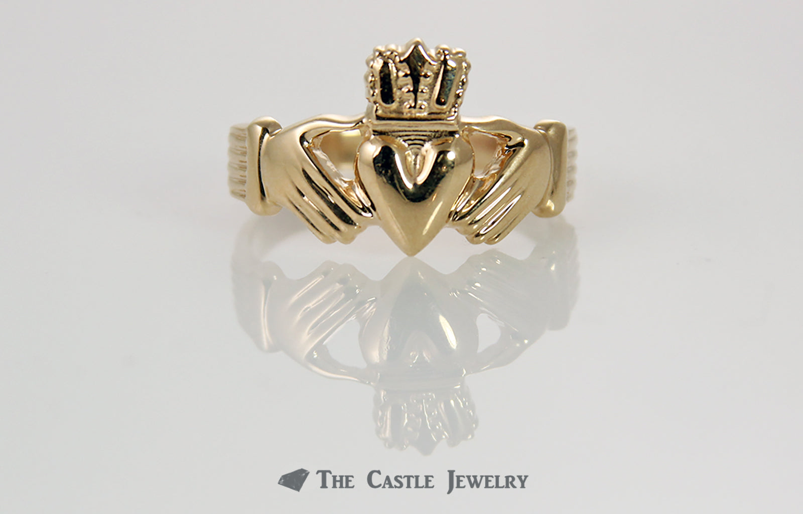 Irish Wedding Band Claddagh Ring in 14K Gold