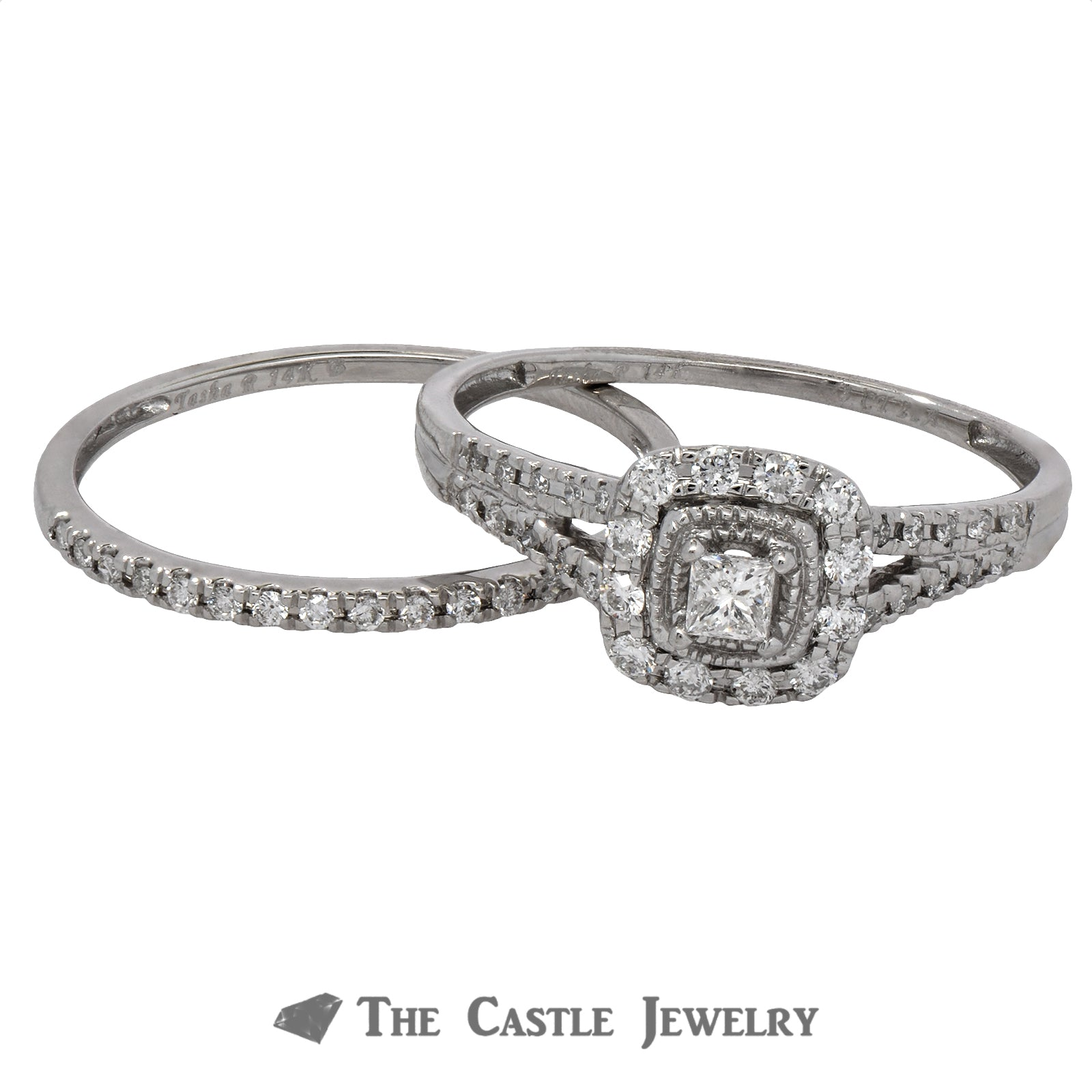 Crown Collection Princess Cut Diamond Halo Bridal Set with Split Shank-2