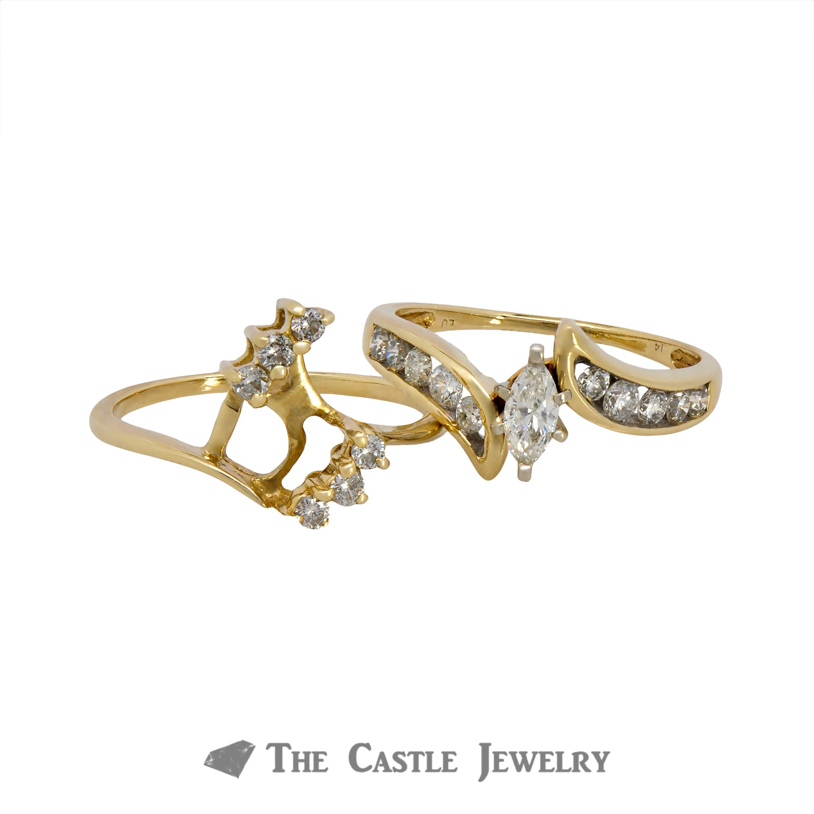 Marquise Cut Diamond Bridal Set with Round Diamond Accents in 14k Yellow Gold-3