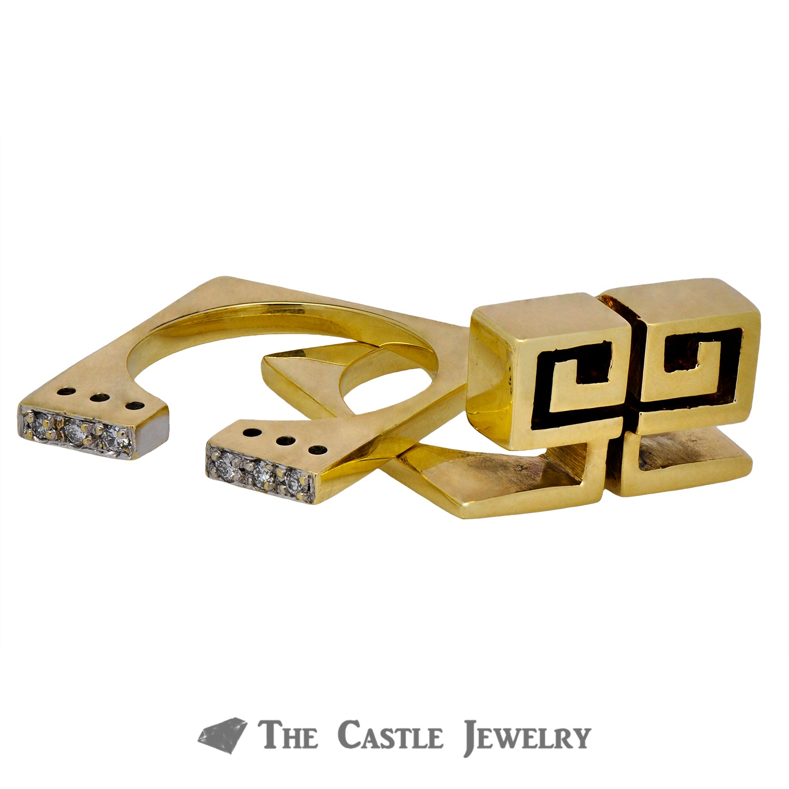 Men's Two Piece Square Greek Key Puzzle Design Ring-3