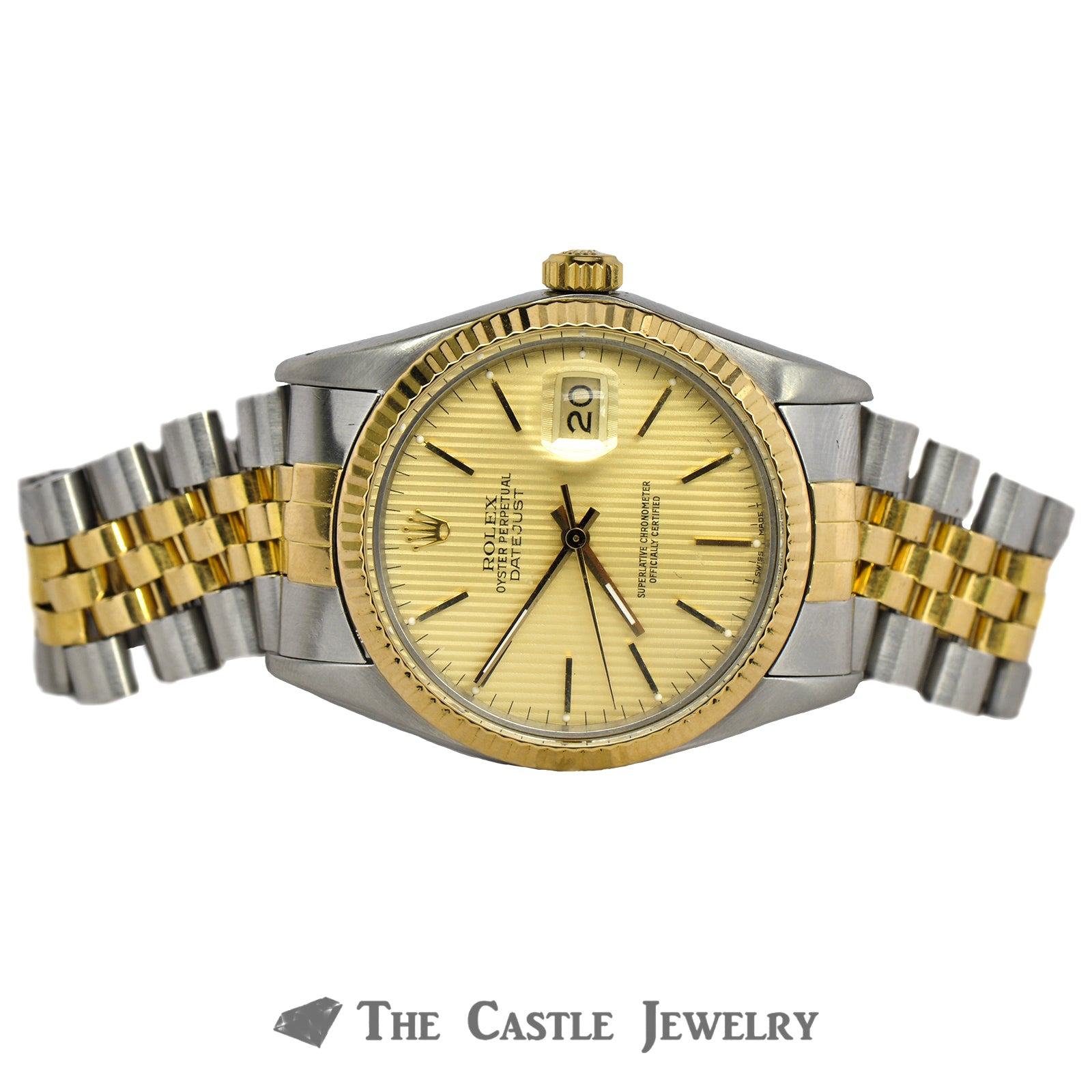Rolex Datejust 36mm 18K & Steel with Gold Tapestry Dial 16013-6