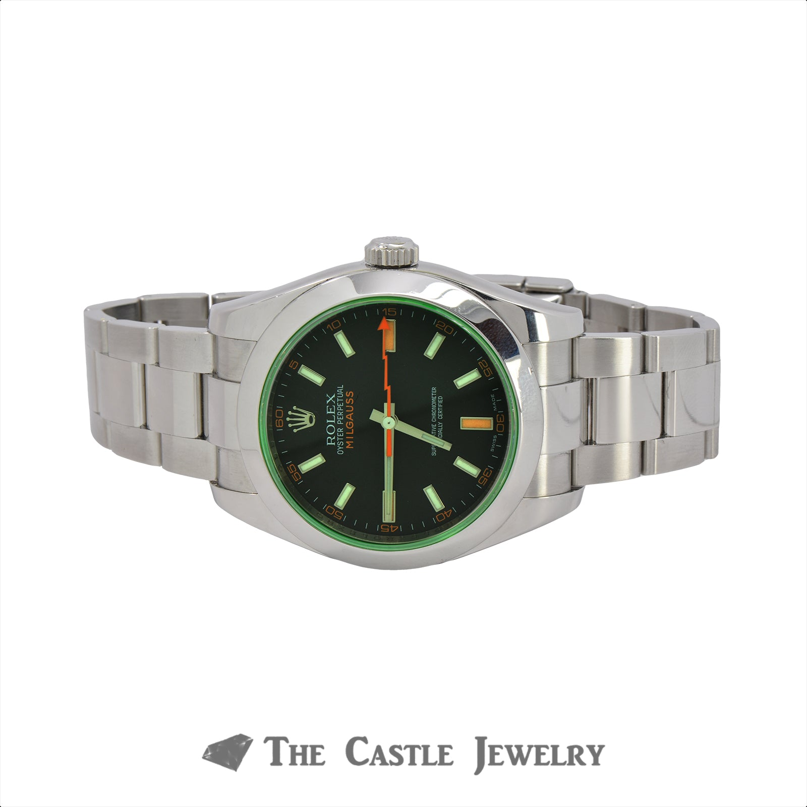 Rolex Milgauss Black Dial with Green Sapphire Crystal 116400GV-4