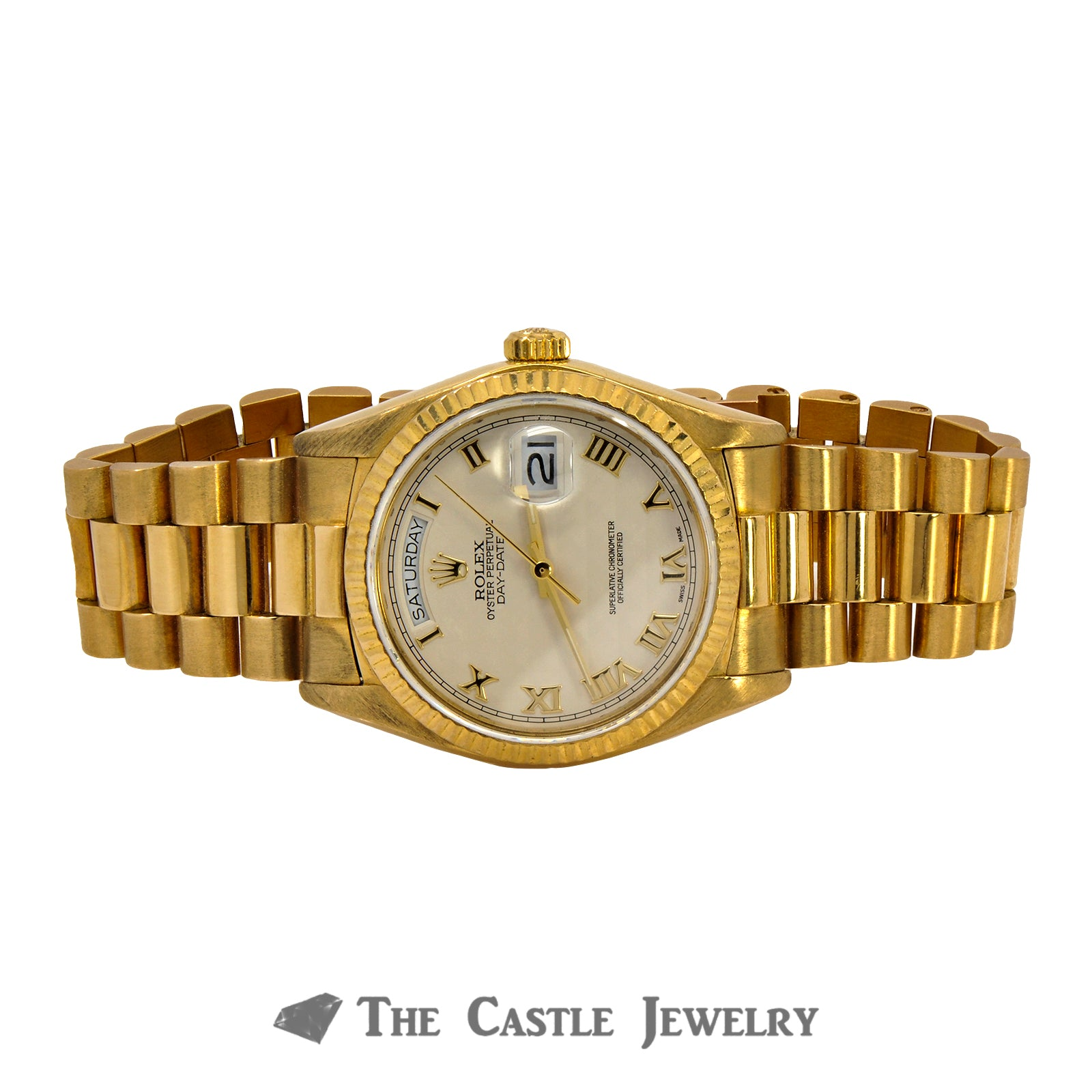 Men's Vintage 36mm 18K Presidential Rolex with Ivory Pyramid Dial & Gold Roman Numerals-5