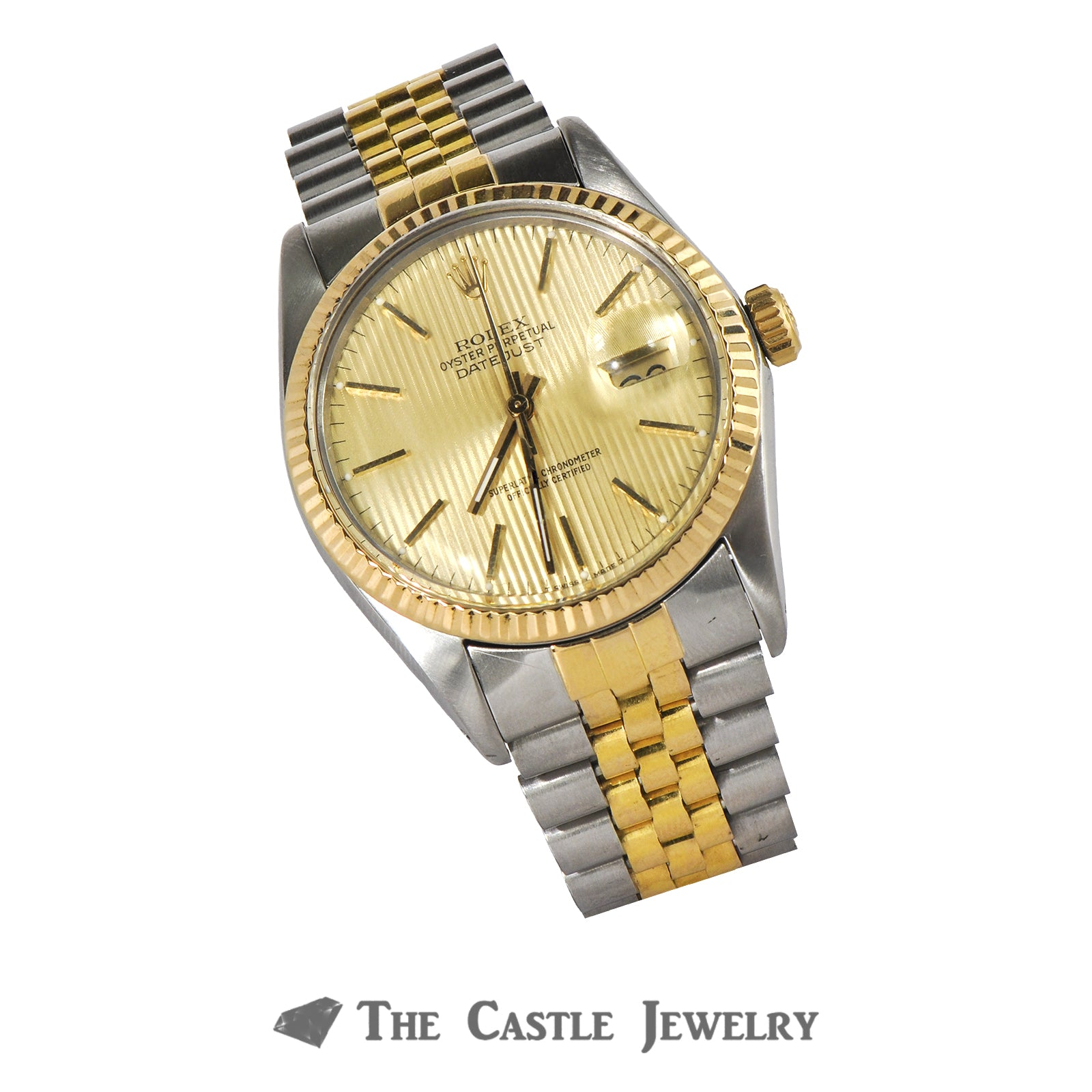 Rolex Datejust 36mm 18K & Steel with Gold Tapestry Dial 16013-7