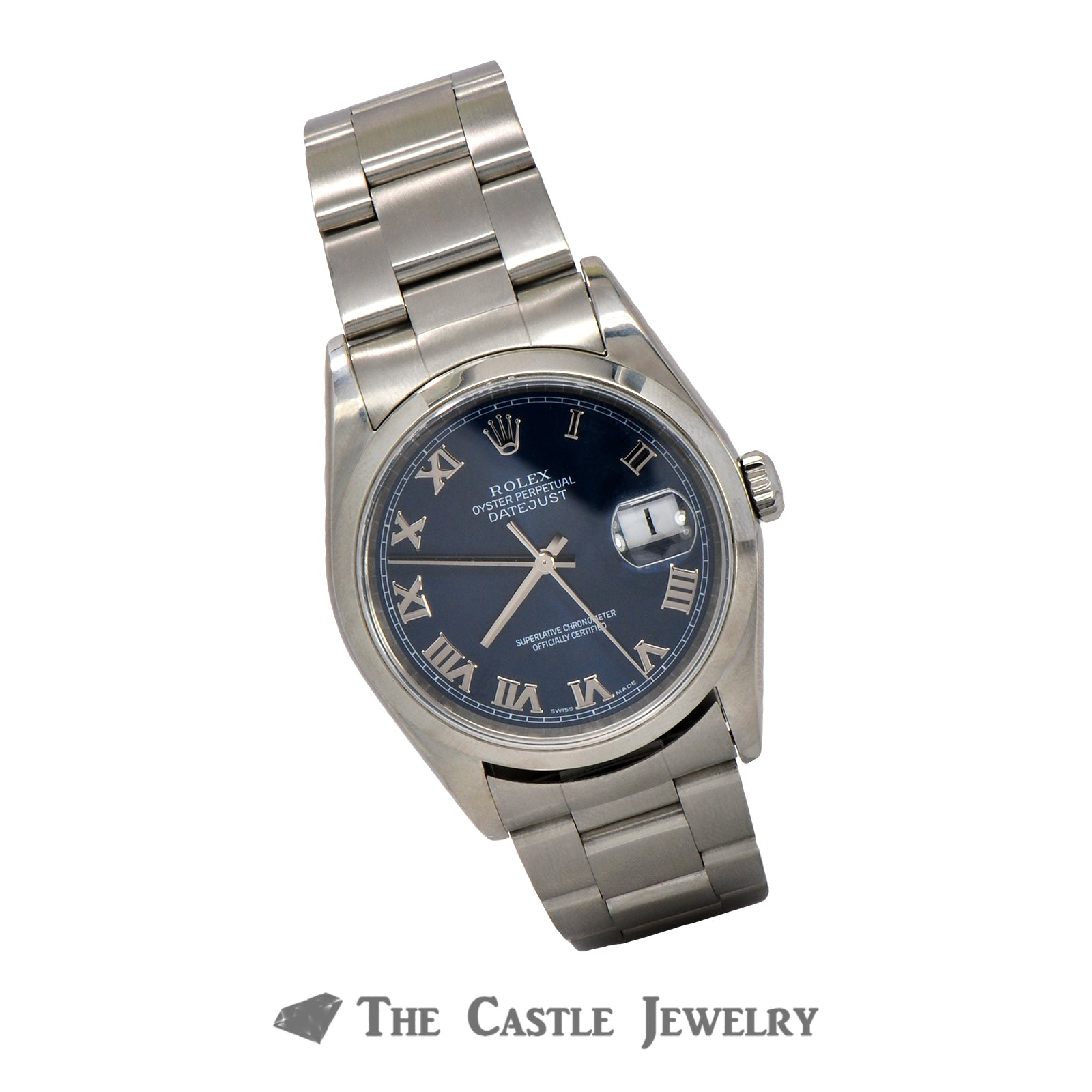Men's 36mm Rolex Datejust with Blue Roman Numeral Dial on Oyster Band-4