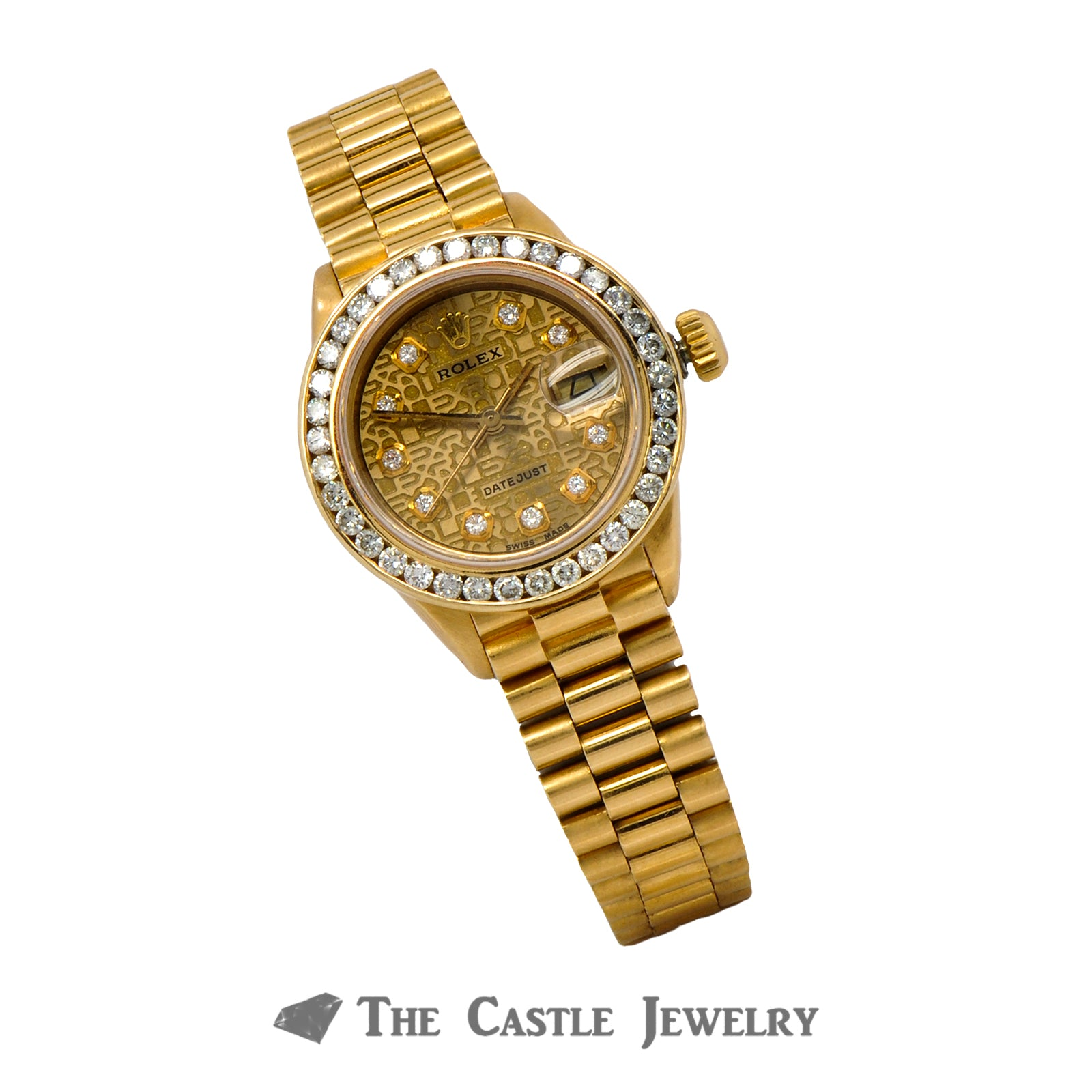 Vintage Ladies Rolex Presidential 26mm 18K Gold Signature Diamond Dial & Bezel 6917-4