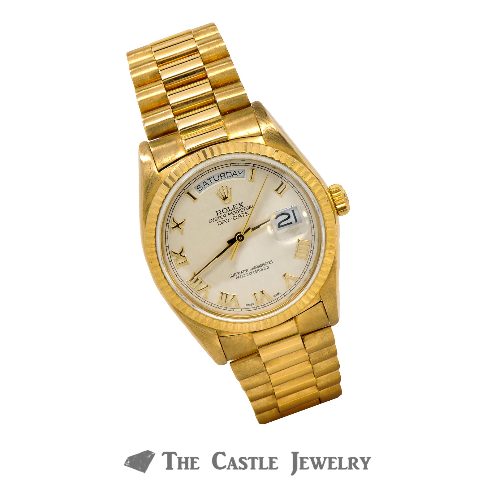 Men's Vintage 36mm 18K Presidential Rolex with Ivory Pyramid Dial & Gold Roman Numerals-4