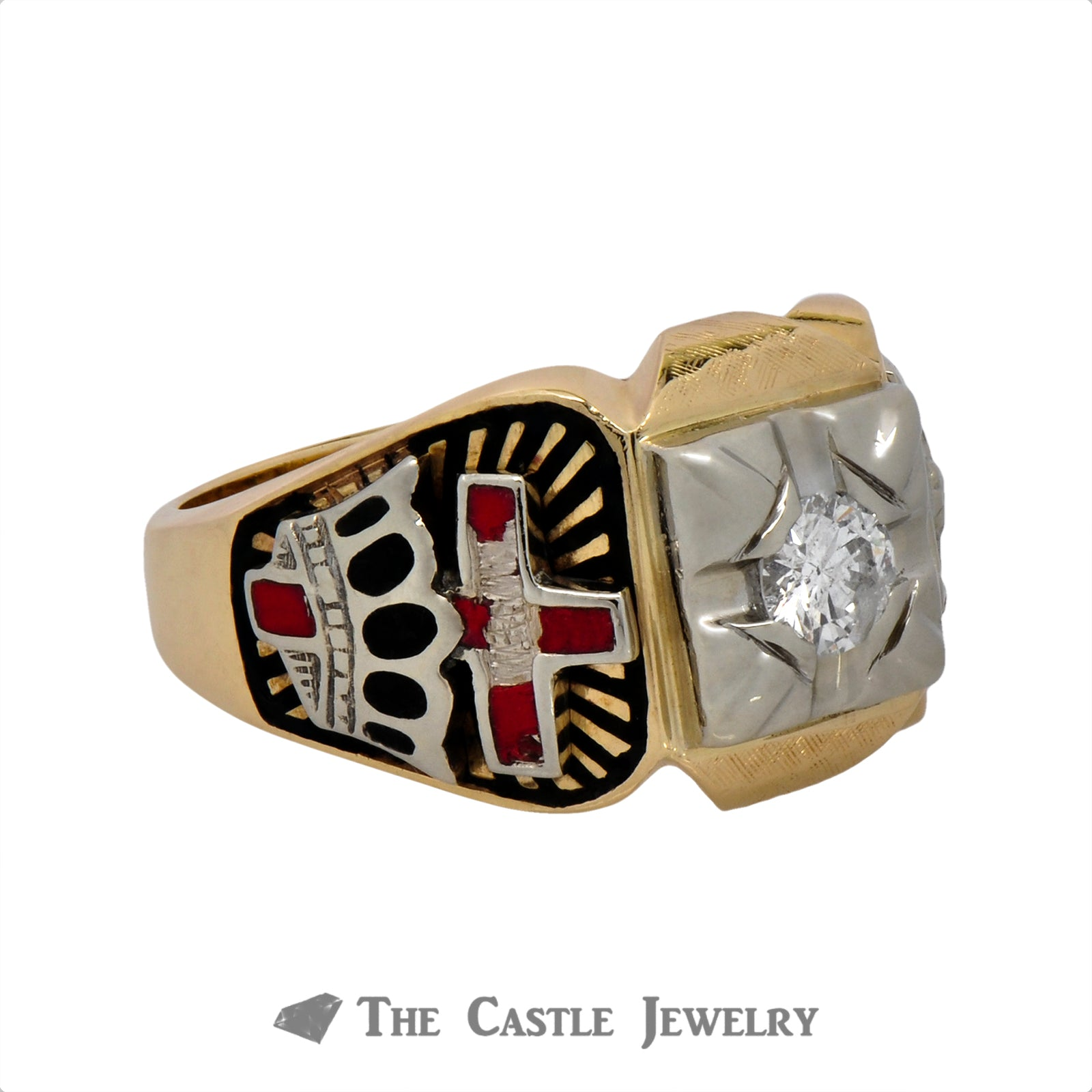 Ancient Order of the Nobles of the Mystic Shrine Ring with Diamond Solitaire-2