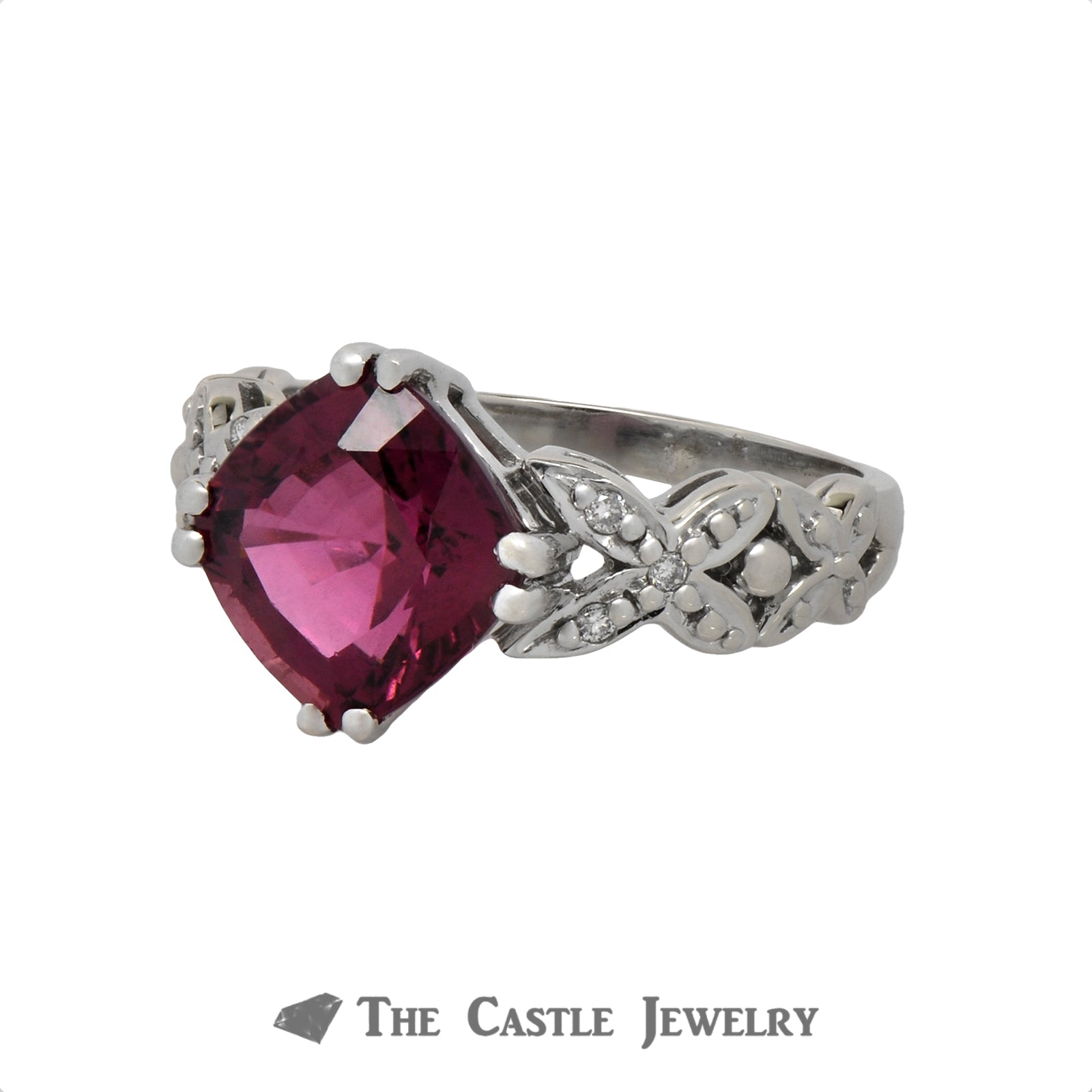 Cushion Cut Rhodolite Garnet ring with .06cttw Diamond Accents in 14k White Gold