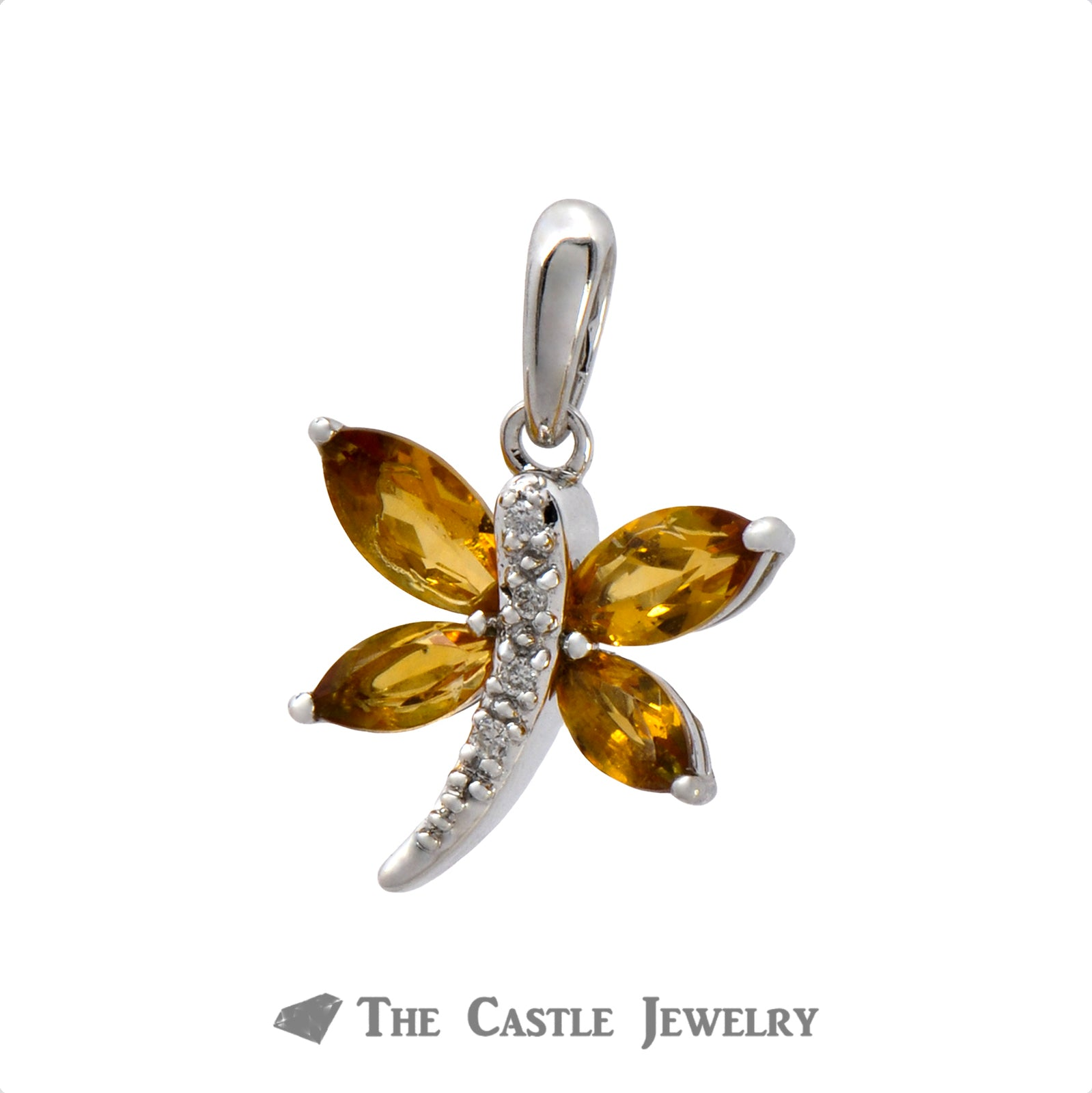 Dragonfly Pendant with Citrine & Diamonds in White Gold-1