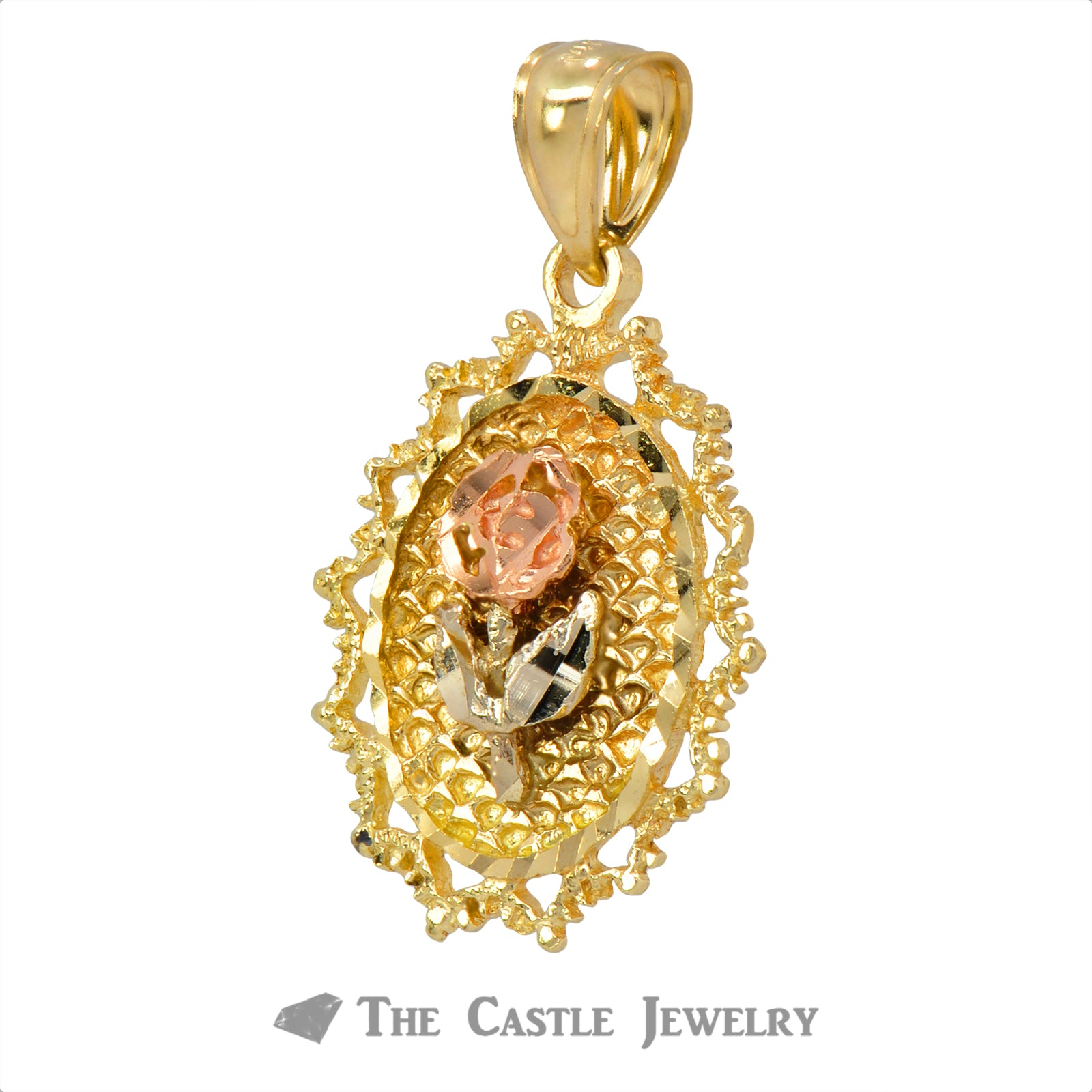 Oval 14K Gold Tri-Color Rose Pendant-1
