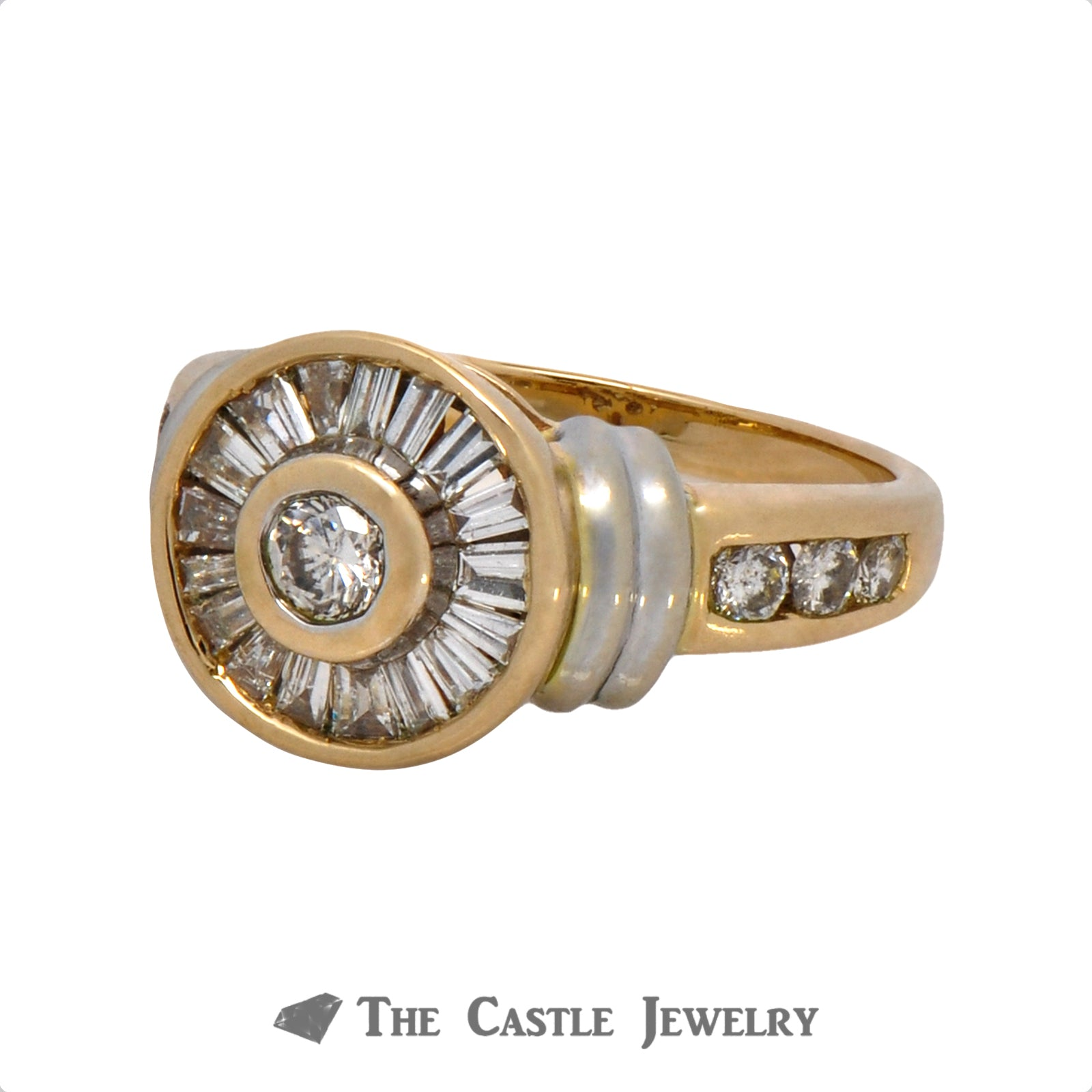 Circular Diamond Ring with Baguette Halo Accents in 14k Two Tone Gold-1
