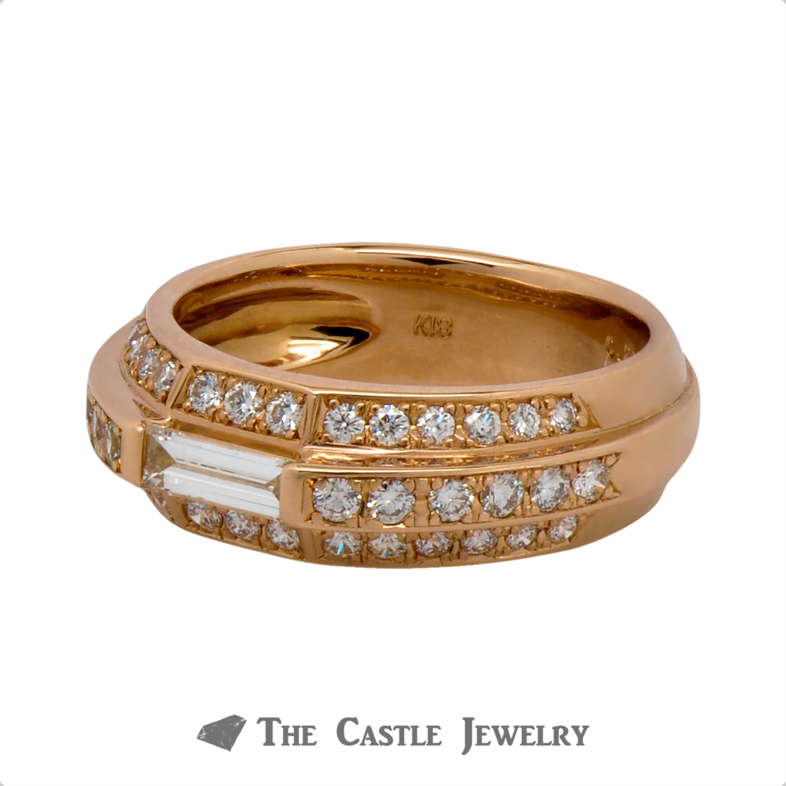 3 Row Baguette & Round Diamond Band in 18k Rose Gold-2