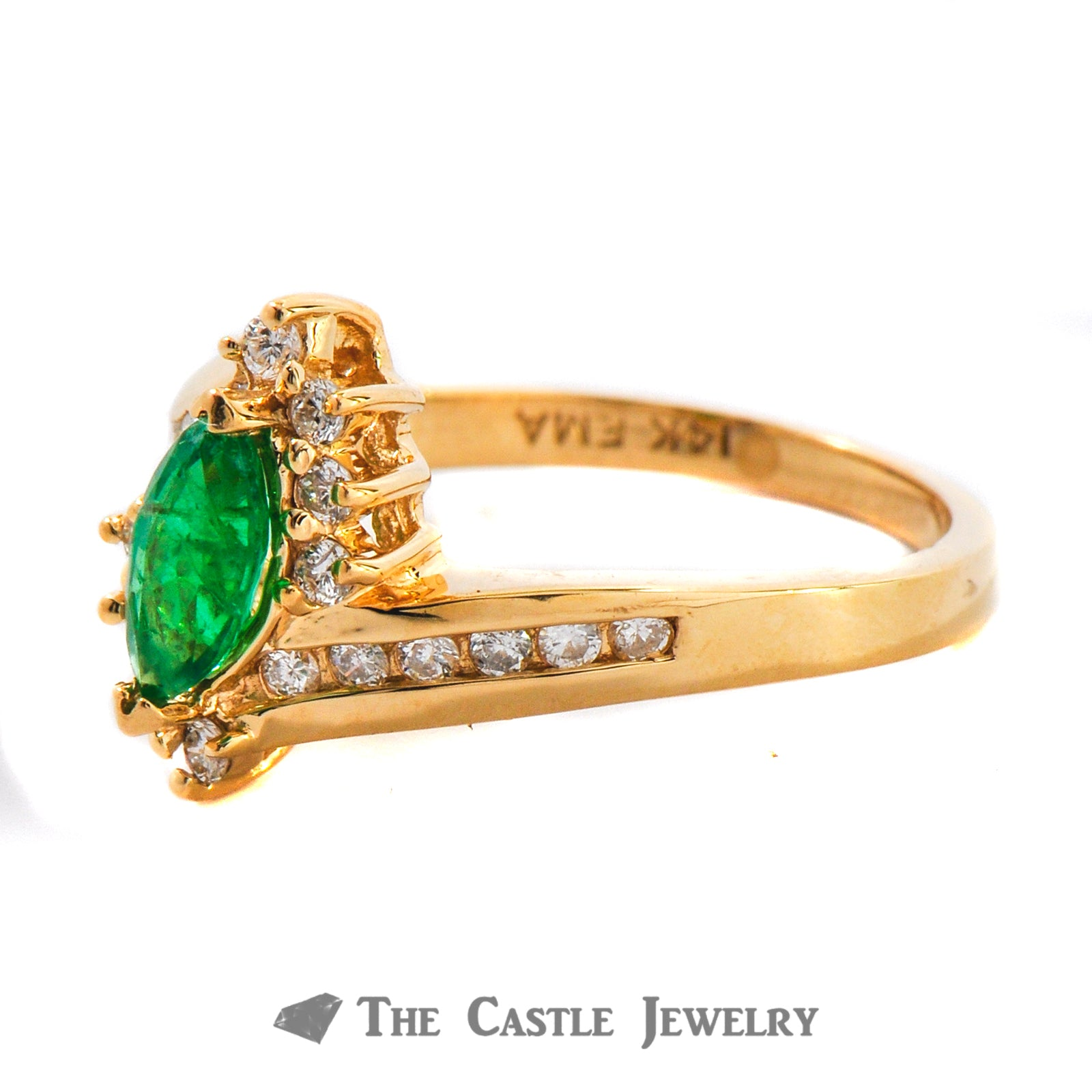 Genuine Marquise Cut Emerald And Diamond Ring In 14K Yellow Gold-1