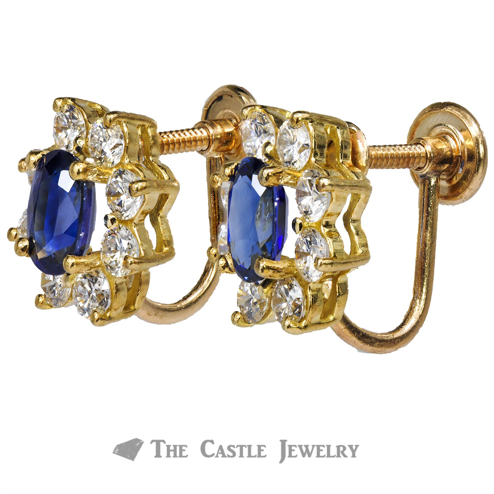 Oval Sapphire Screw On Earrings with Diamond Halo 14K Gold-1